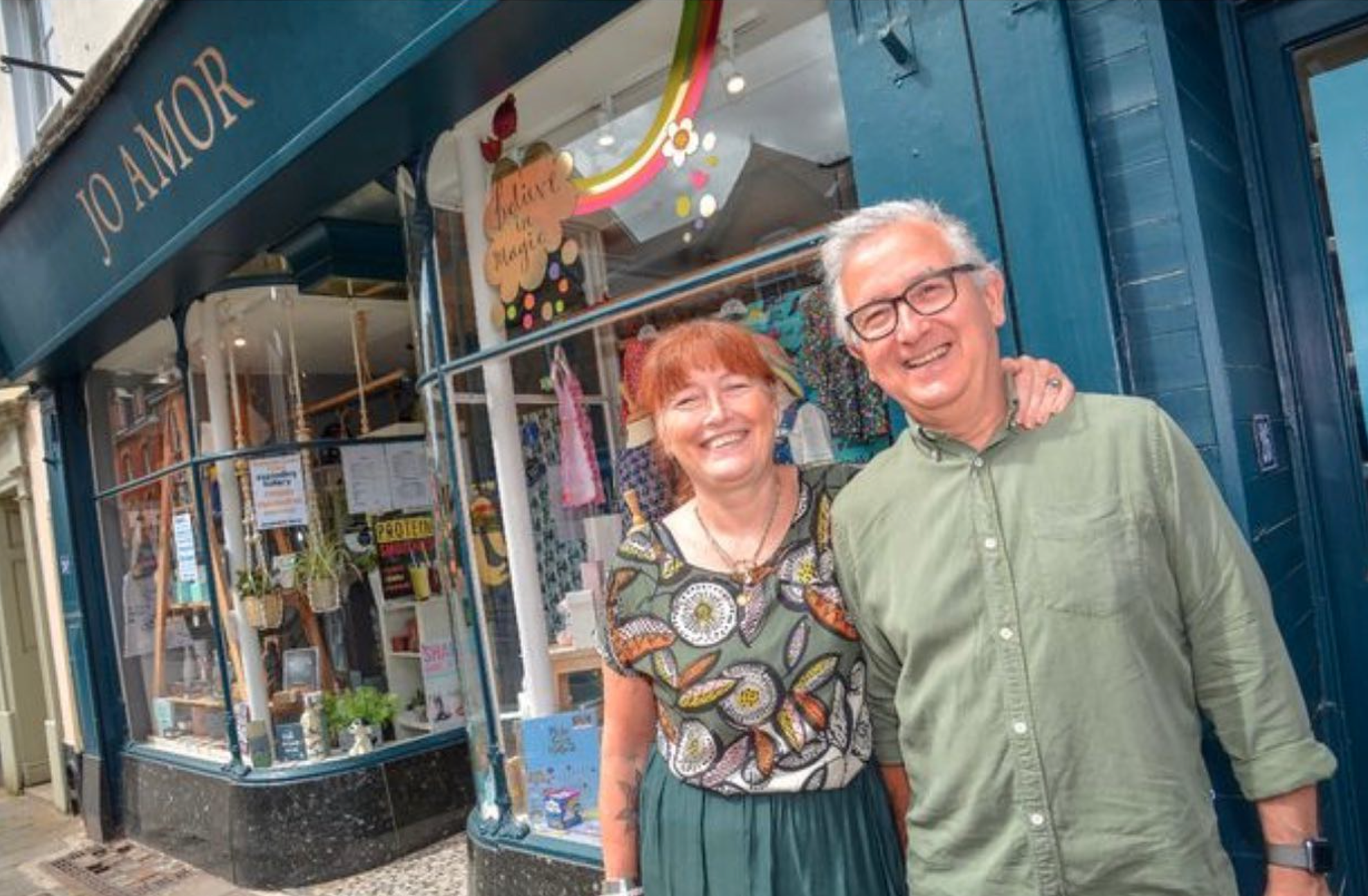 Above: Jo and Mike Webber of Jo Amor in Tiverton are enjoying being back open.