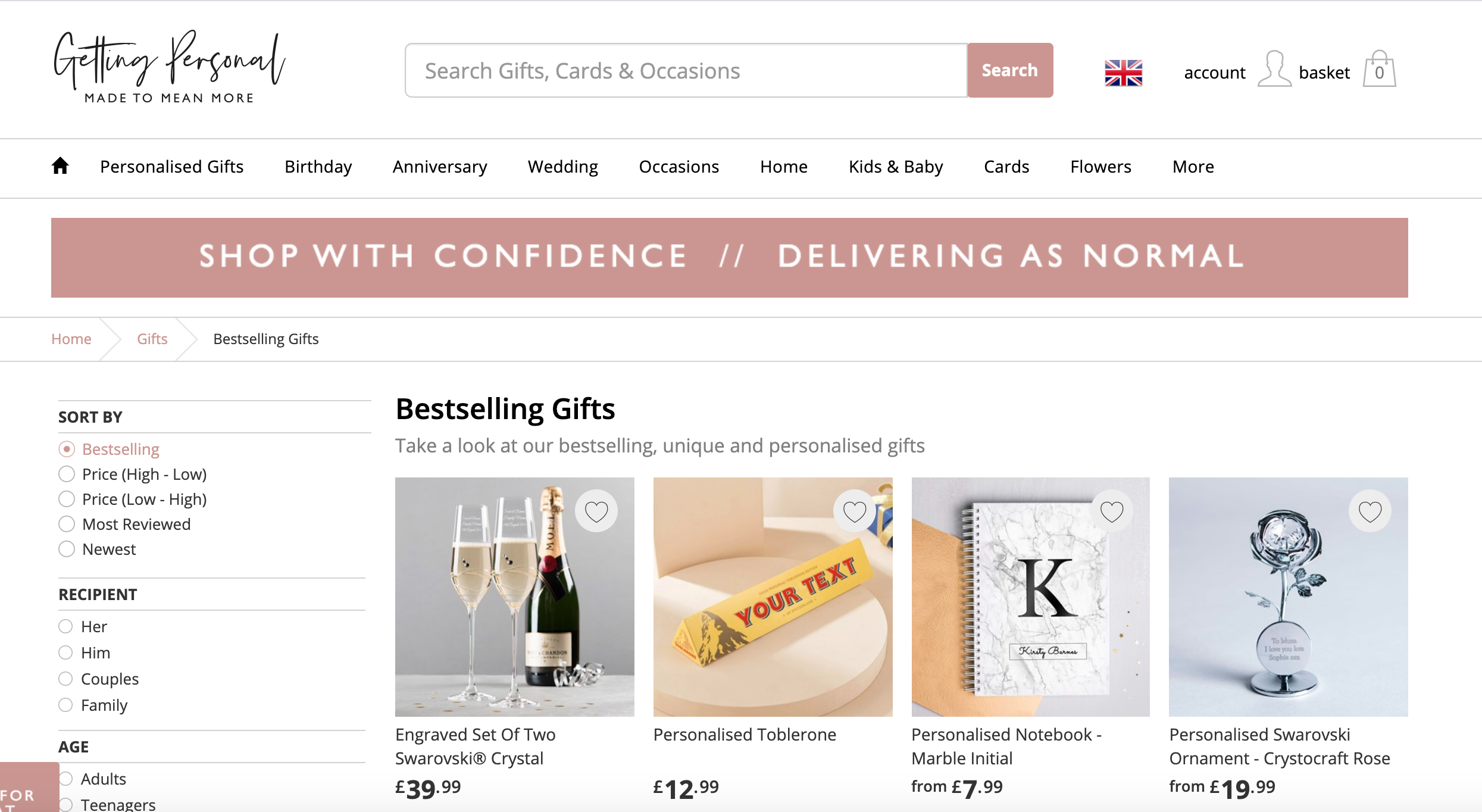 Above: Card Factory's loss making Getting Personal online brand is to be dovetailed into the retailer's main online platform.