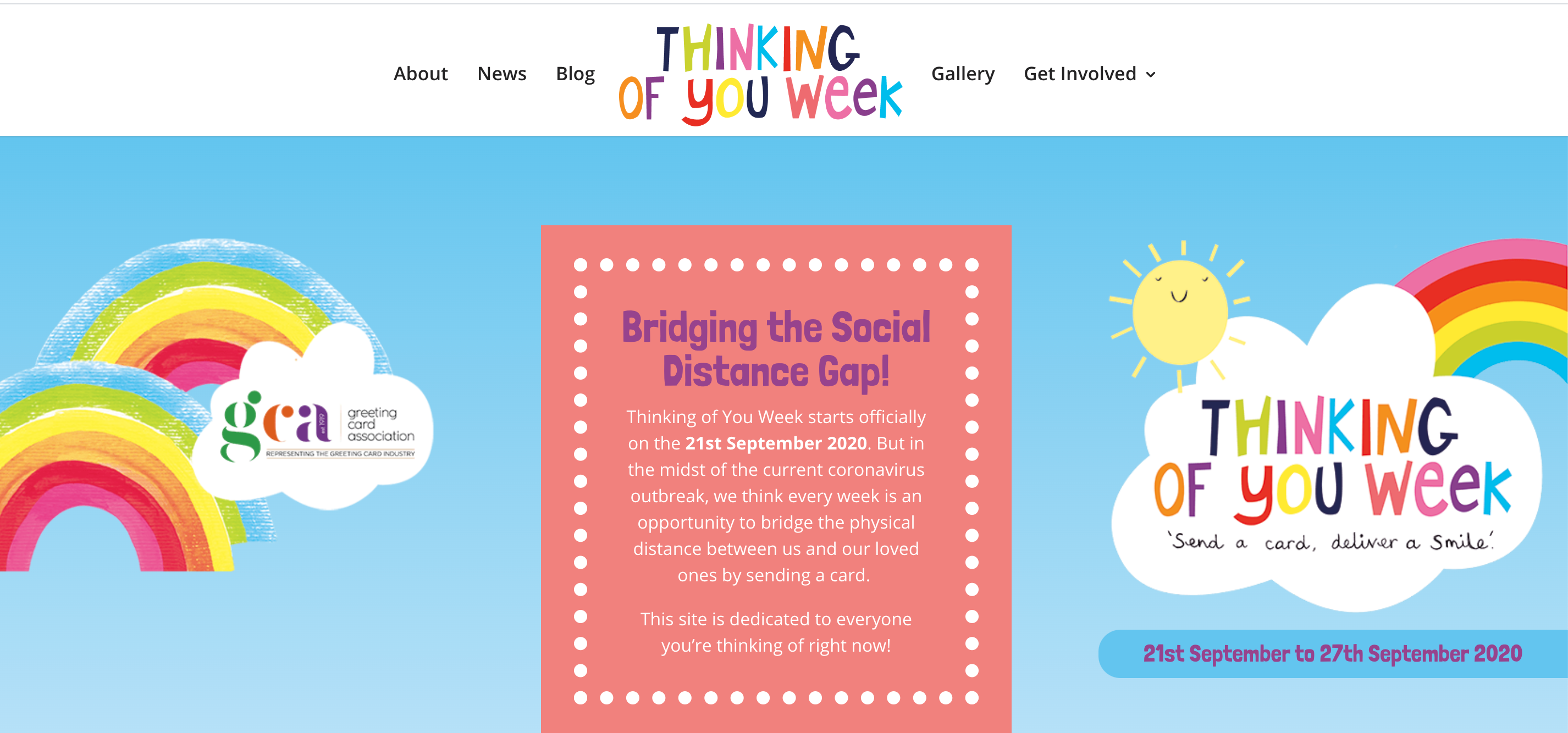 Above: The new Thinking Of You Week website features graphics created by Paper Salad, while the site was built by Raj Arora, md of Davora, a GCA council member.