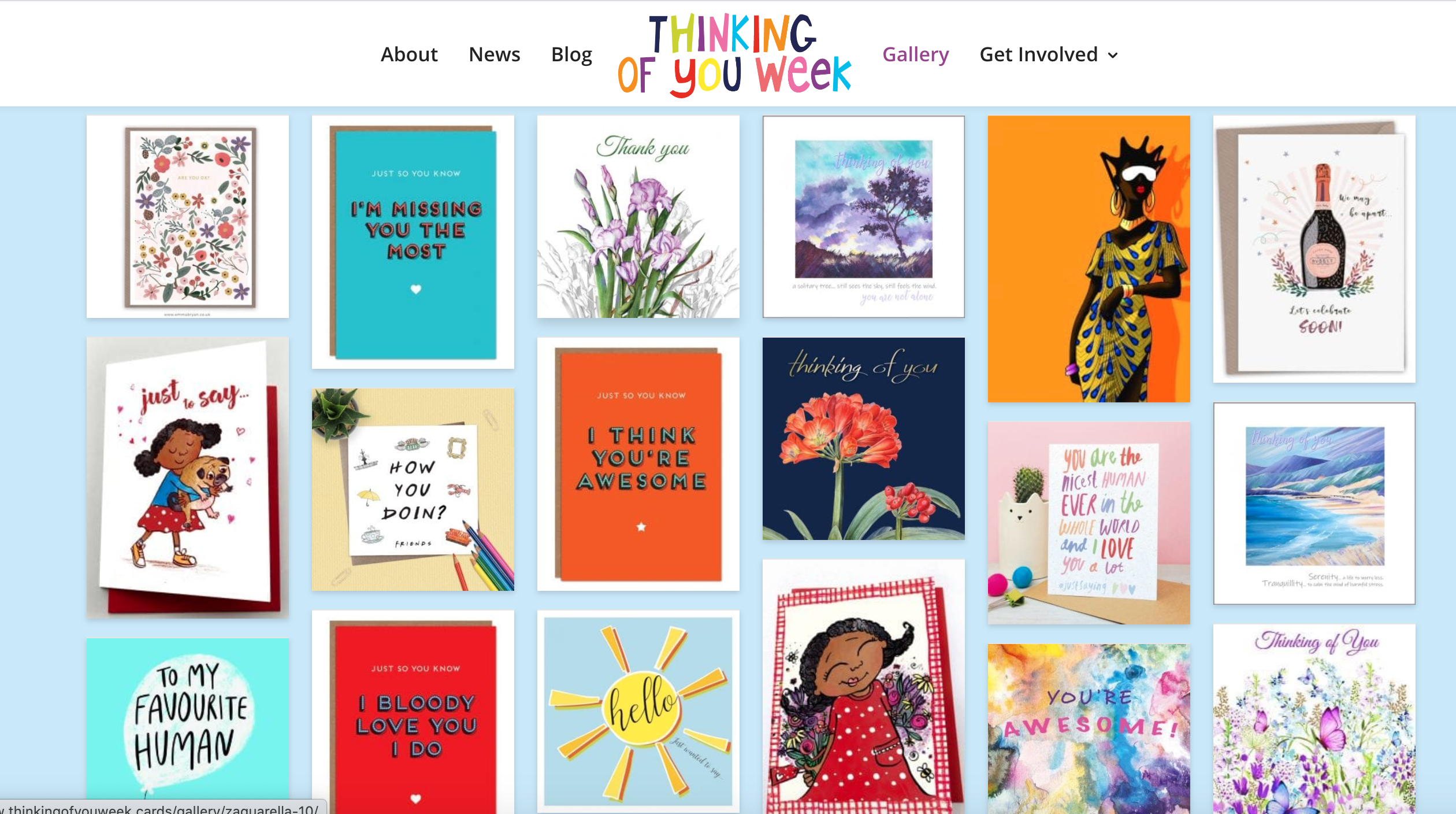 Above: Part of the Gallery section on the Thinking Of You Week website.