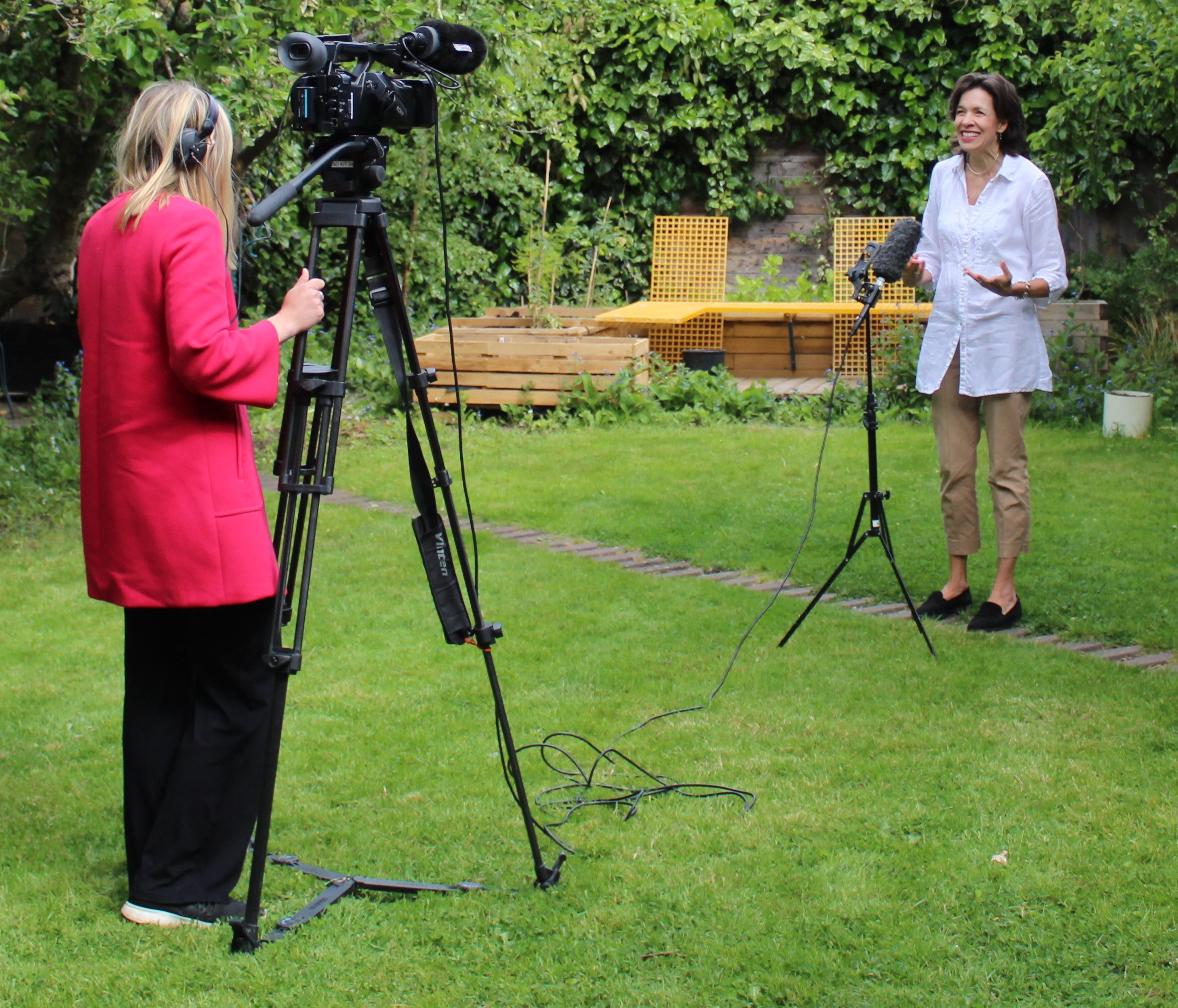 Above: (right) Amanda Fergusson, ceo of the GCA being filmed by ITV News for a positive piece about the sending of cards during lockdown.