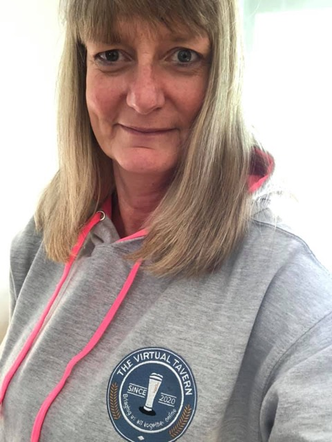 Above: Alison Russell of Conway Cards in Garstang, a Virtual Tavern 'local', sporting her new hoodie.