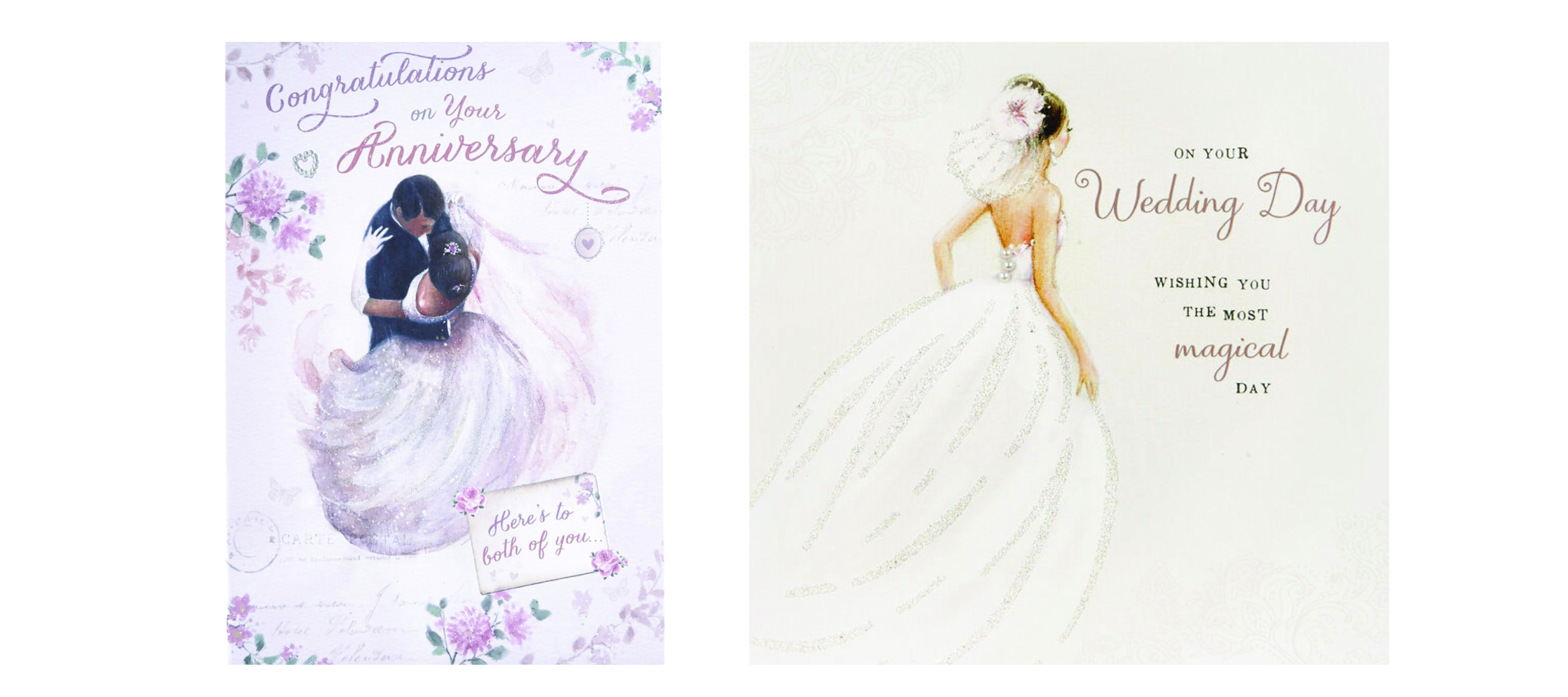 Above: Weddings is one area where it is most likely to feature figurative illustrations. Card Factory recognises it needs to include more skin tones.