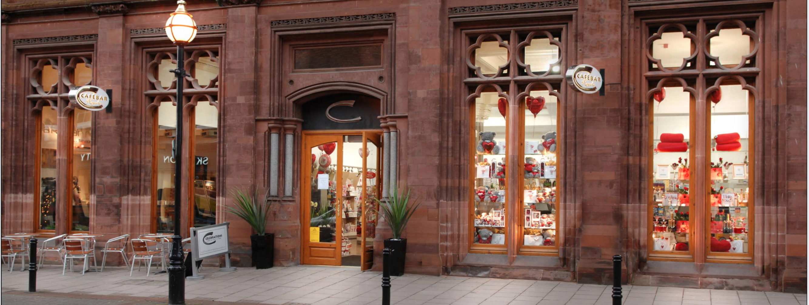 Above: Celebrations in Carlisle is an award-winning card, gift and café.