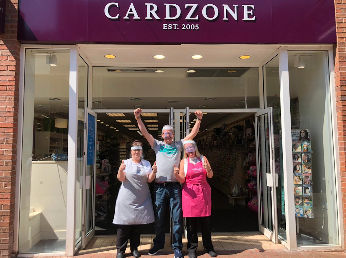 Above: At the opening of the Macclesfield store which features the new branding. (Left-right) Cardzone's Nicola McAlpine, Andy Hicks and Lou Owen.