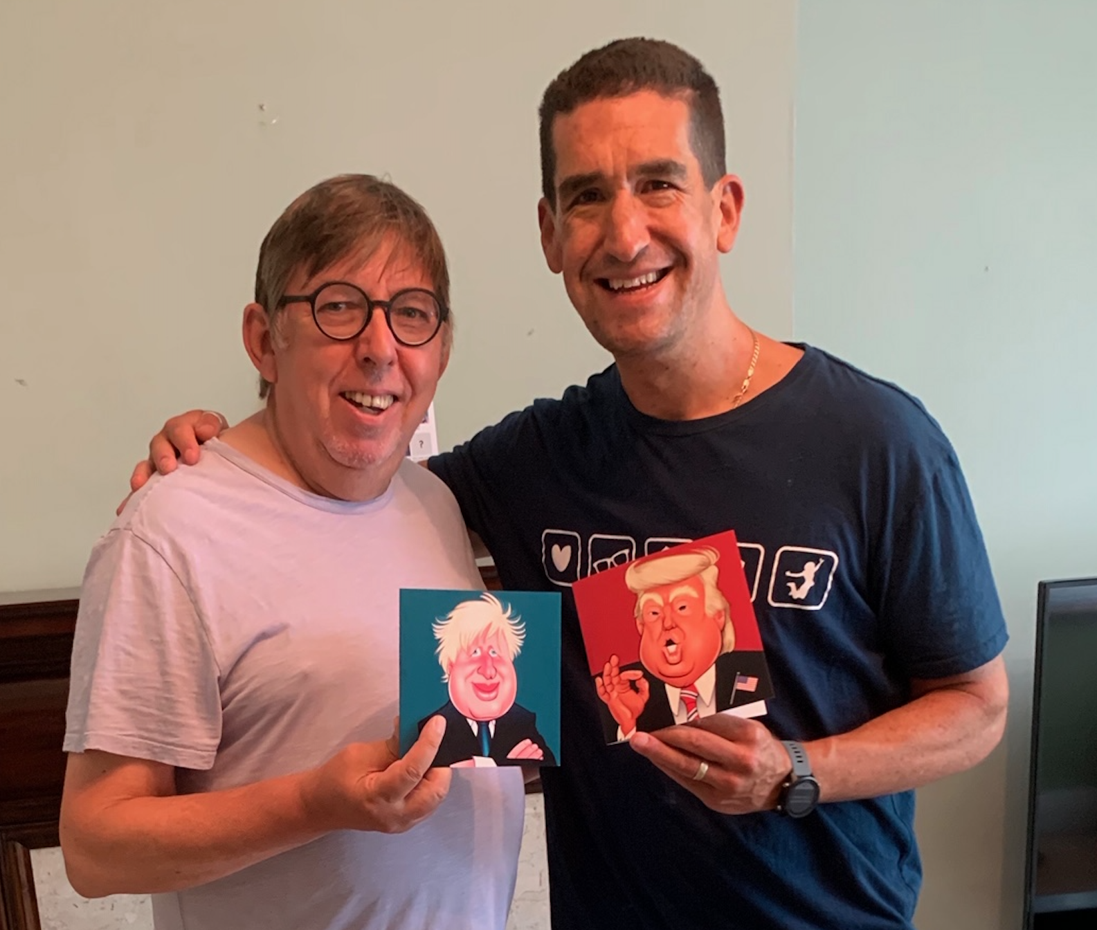 Above: John Wignall (right), owner of Really Wild Cards with Darren Altman the voice over artist, comedian and celebrity impersonator who is the voice in the cards.