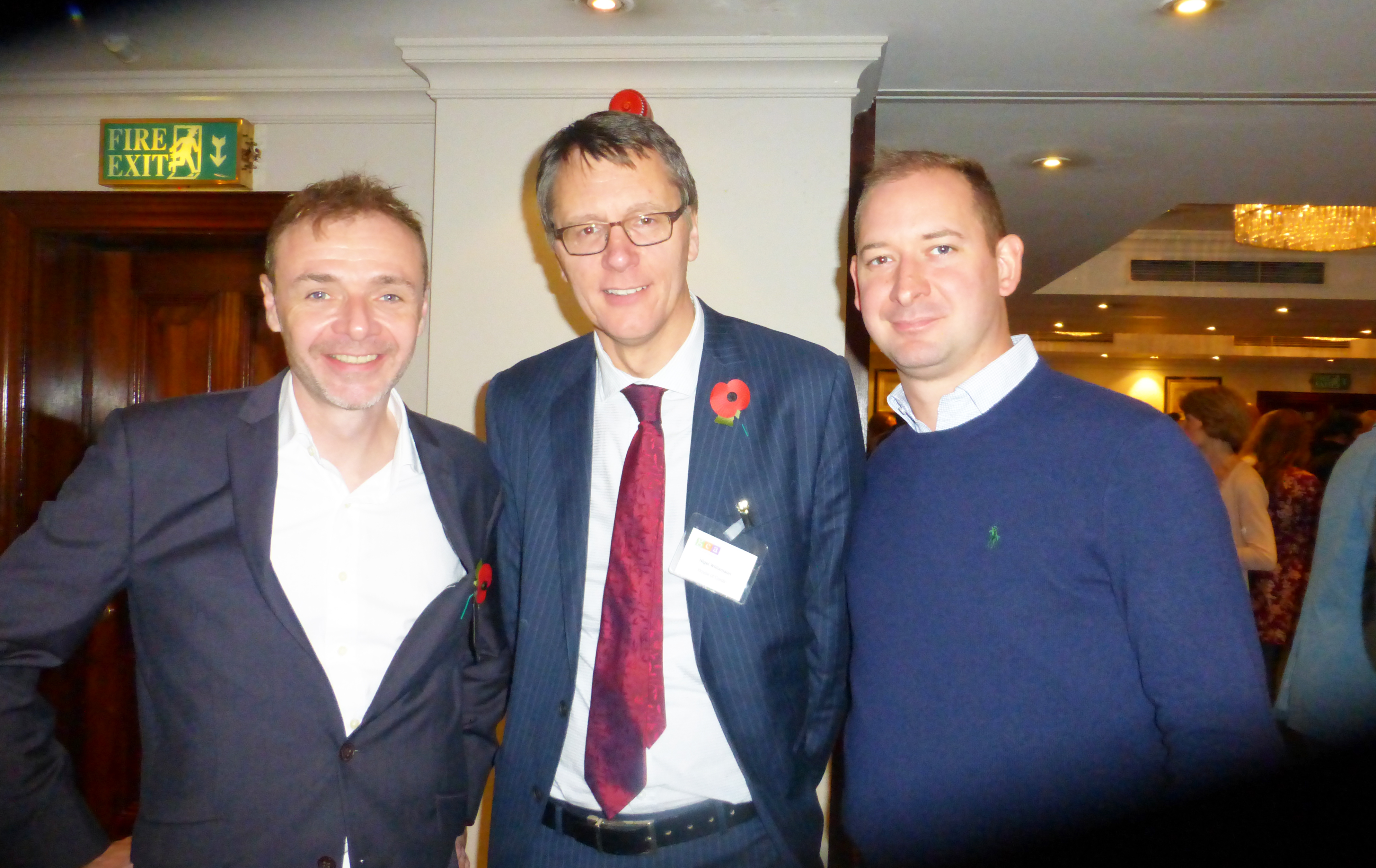Above: Second Nature's Tim West (right) with colleague Chris Bryan (left) and House of Cards' Nigel Williamson at last year's GCA AGM.