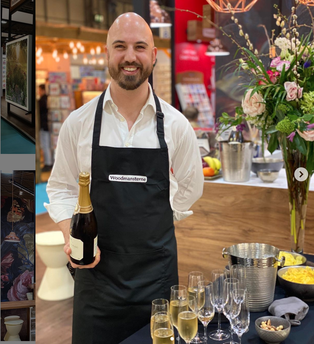 Above: Seth Woodmansterne, serving champagne to customers at this February's show. The champers will need to stay on ice until the 2022 show now.