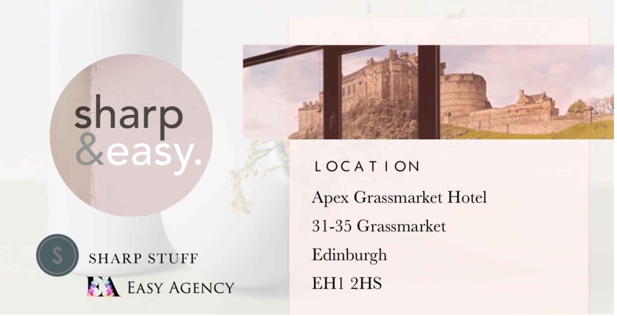 Above: The Sharp & Easy Pop-up showroom will be installed in Edinburgh's Apex Grassmarket hotel, which has easy parking as well as a great view of the castle.