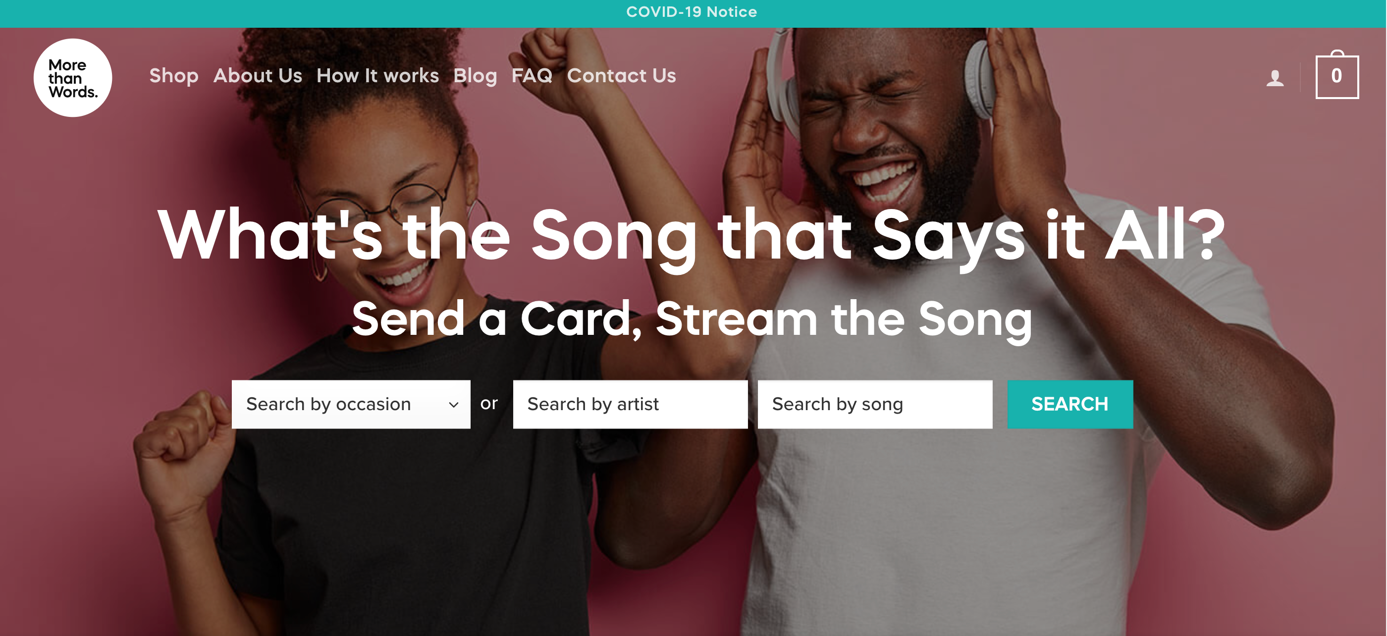 Above: Consumers can search by singer/band, genre or occasion to find the right card on the More than Words site.
