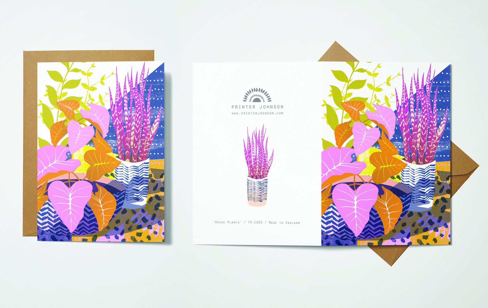 Above: A vibrant card design from printmaker, Printer Johnson.