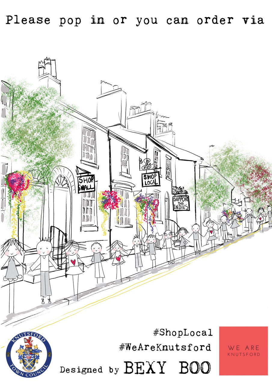 Above: The poster Bexy Boo (based in Knutsford) designed to help support the local high street.