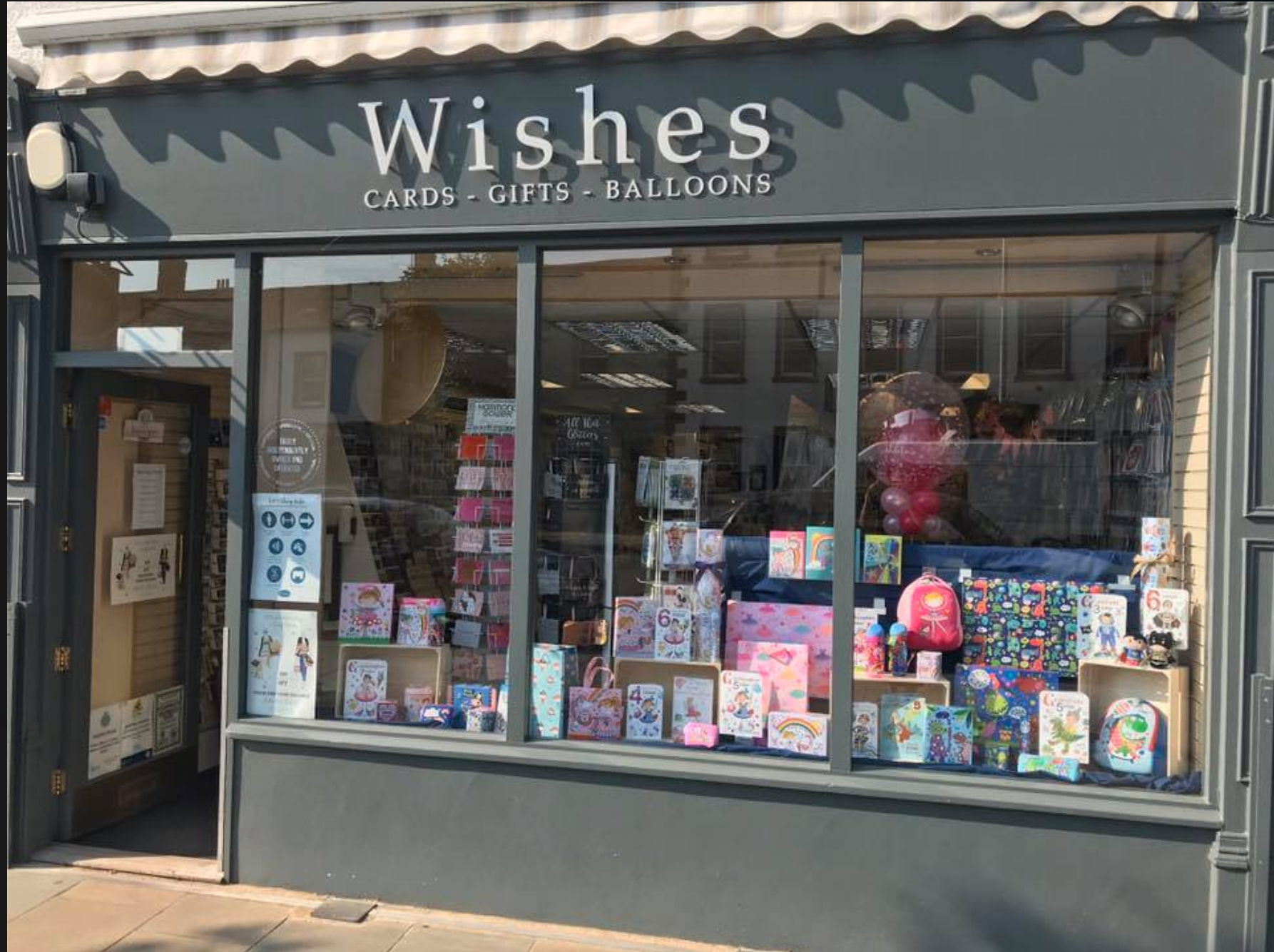 Above: Wishes has an ever changing window display to attract customers' interest.