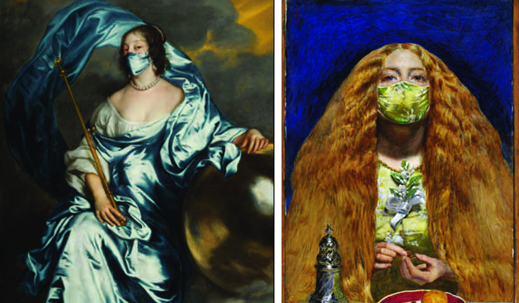 Above: Modern updates of The Countess Rachel du Ruvigny of Southampton Anthony van Dyck (left) and pre-Raphaelite artist John Everett Millais' The Bridesmaid (1851) from The Fitzwilliam Museum's new Masterpieces card collection.