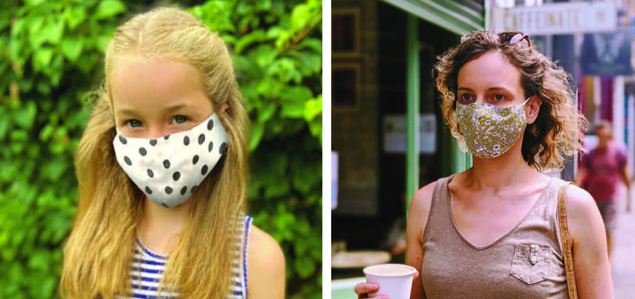 Above: The Caroline Gardner face masks (made from 100% cotton) have three layers. The front, the inner layer and then also a pocket so a filter sheet can be added in.