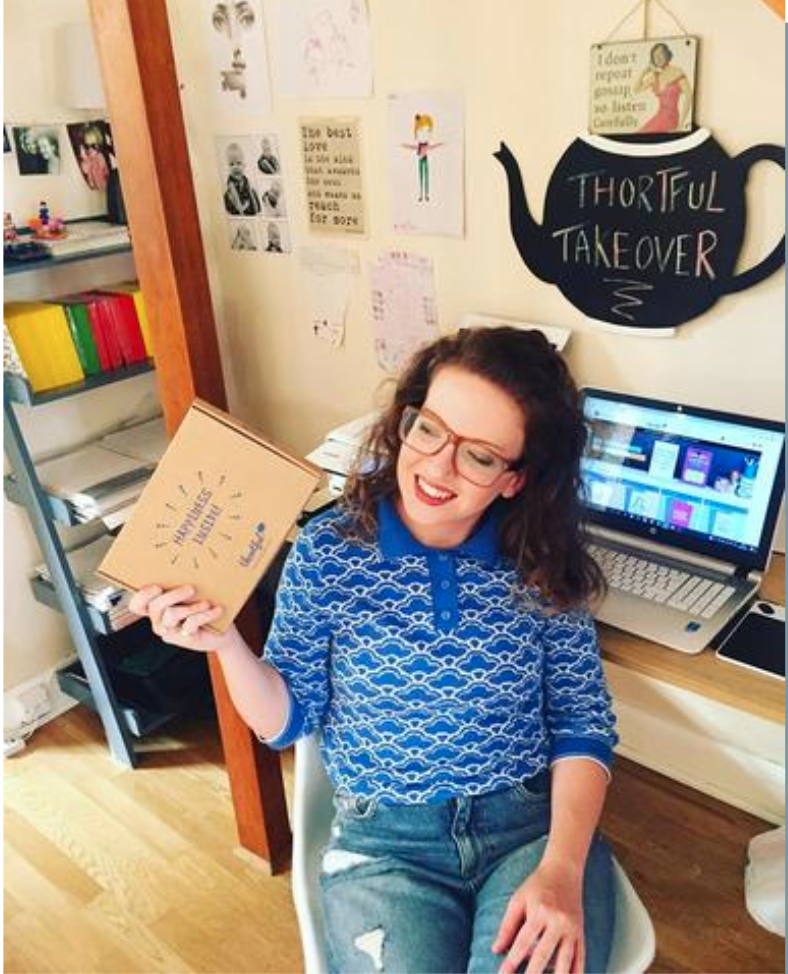 Above: Sophie Munro of Pack A Punch Designs is one of the 2,000+ creators Thortful works with.