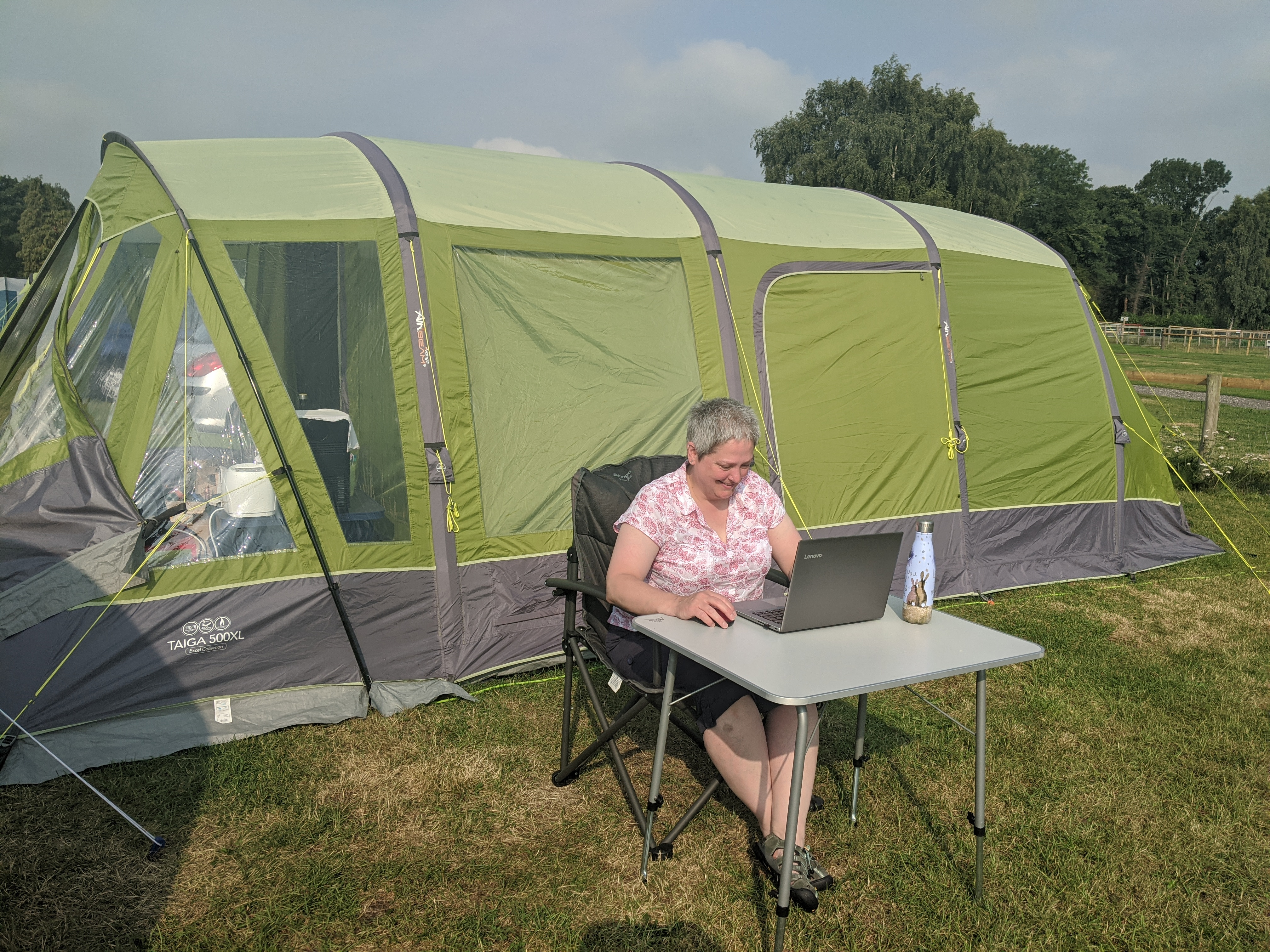 Above: Marple Stationery Supplies' Sarah Laker, judging The Henries while on her family camping holiday!