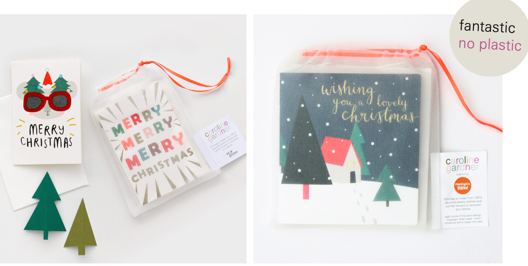 Above: One of the products Caroline Gardner is sharing in its virtual showroom and on a video presentation is its new eco-pouched Christmas cards. The introduction of these bags (made from recycled bottles) are expected to see over 10,000 plastic bottles being recycled this Christmas.