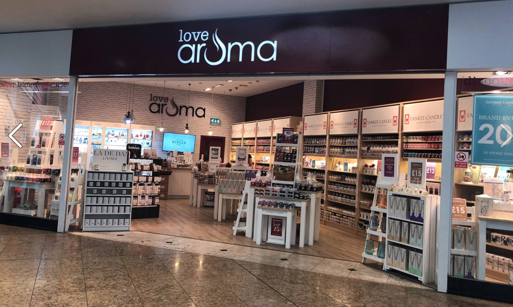 Above: As well as its card shops, the Penmark group also includes four Love Aroma candle and home fragrance shops.
