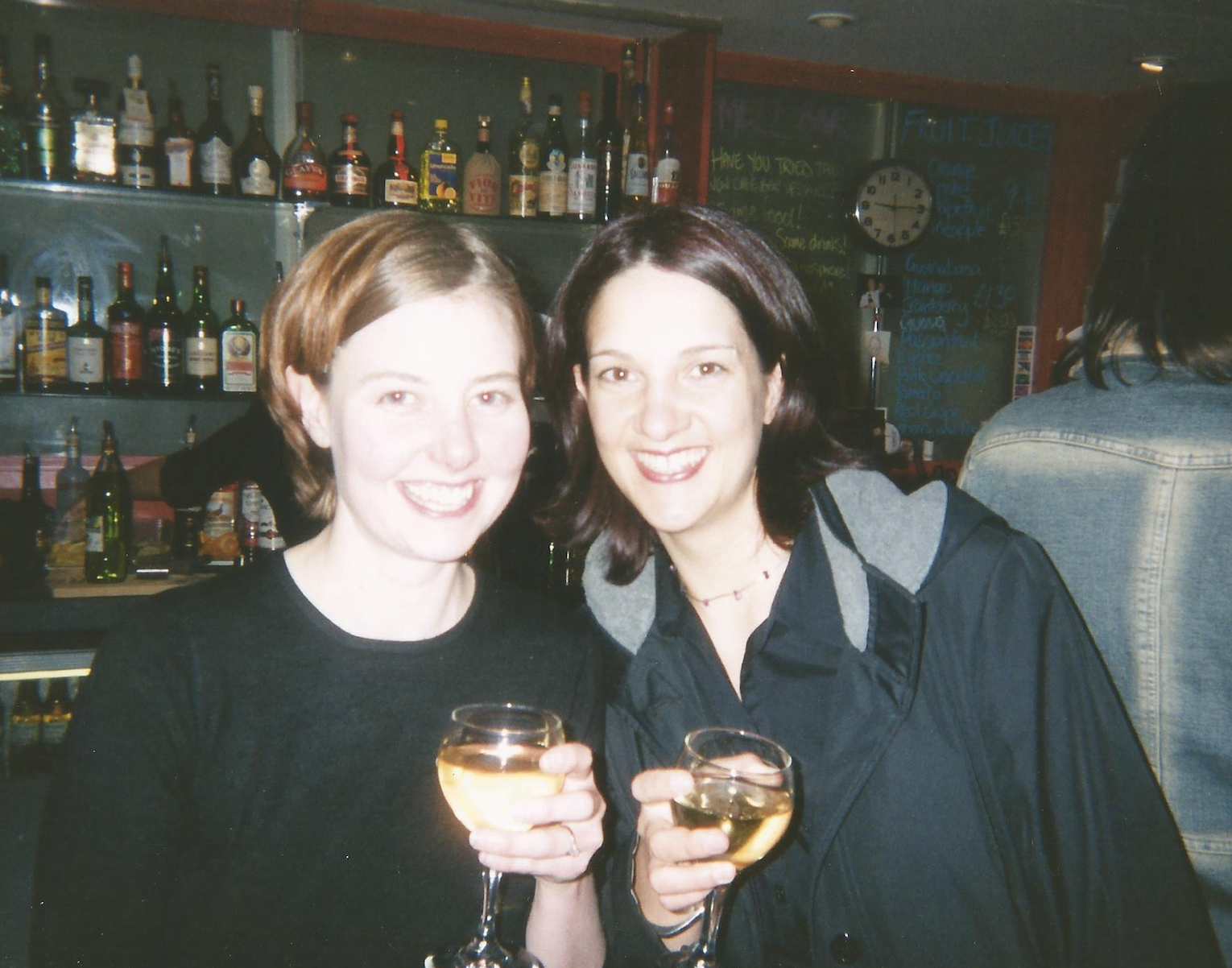 Above: A 'Cheers' from Sara Burford and Sarah Fitzgerald, in pre social-distanced times.