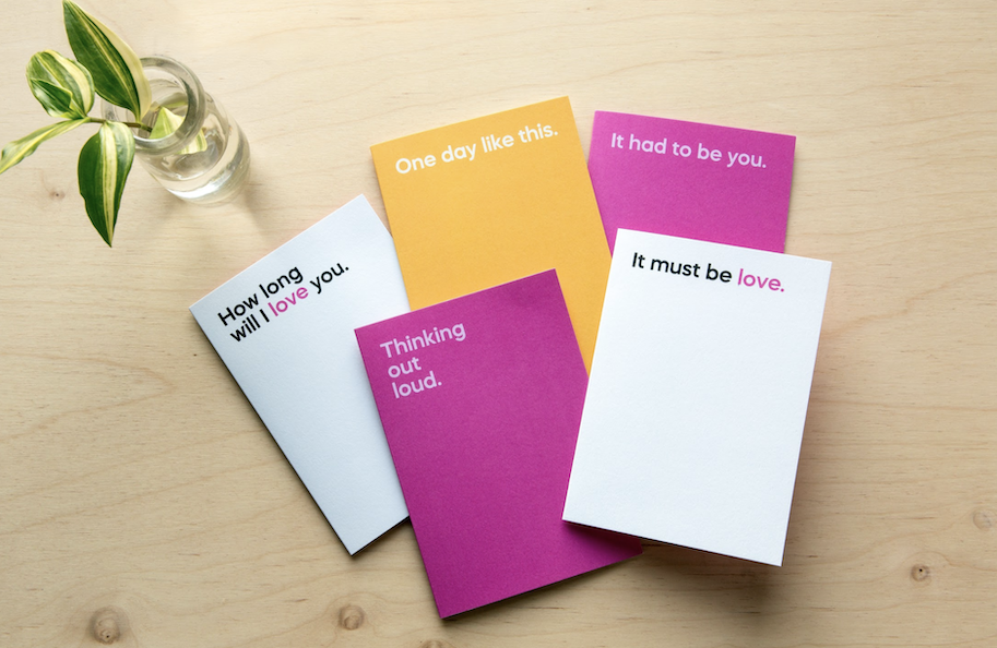 Above: A selection of designs from the vast Say it with Songs portfolio.