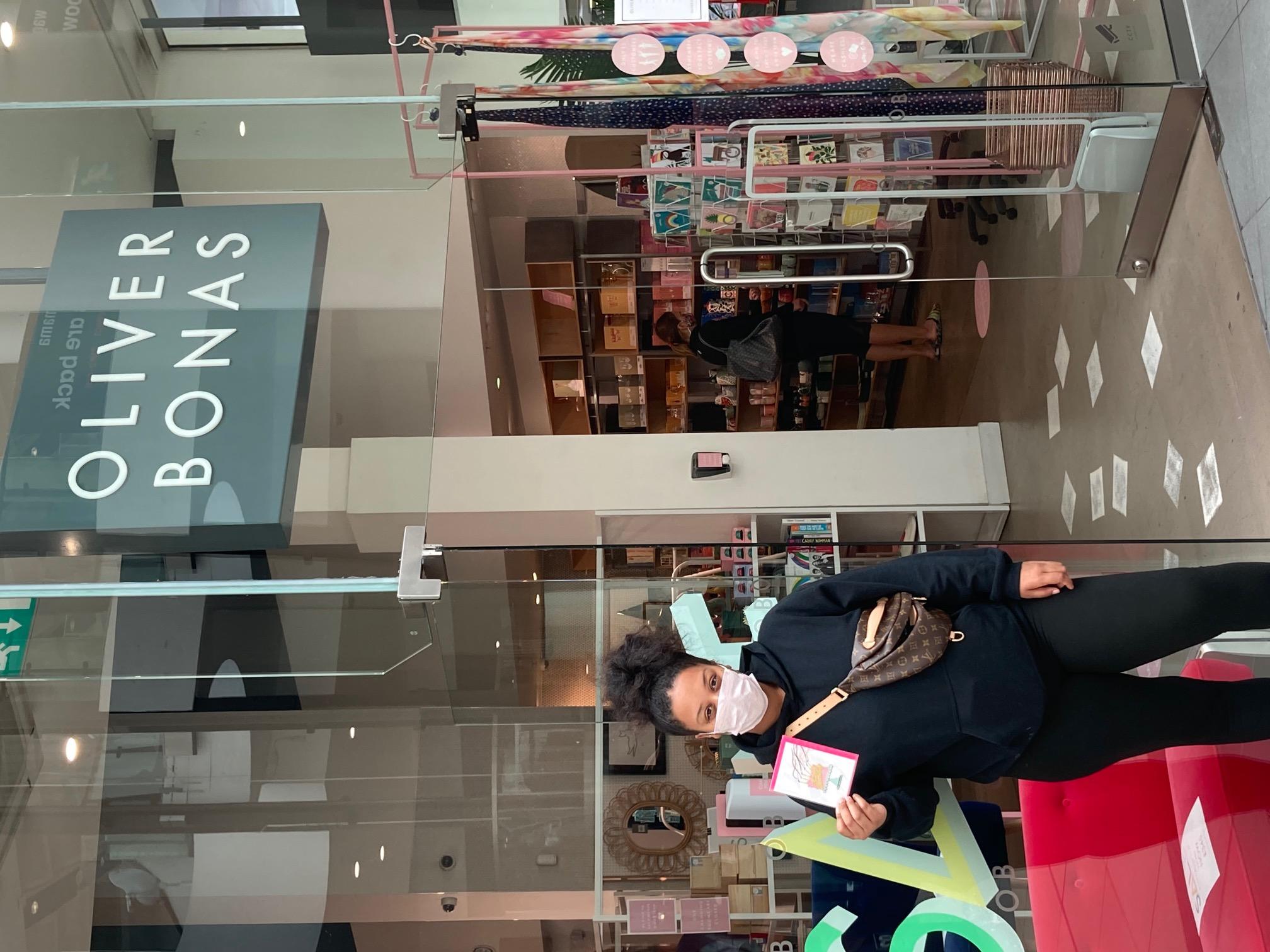Above: Musharrifa outside her local Oliver Bonas store.