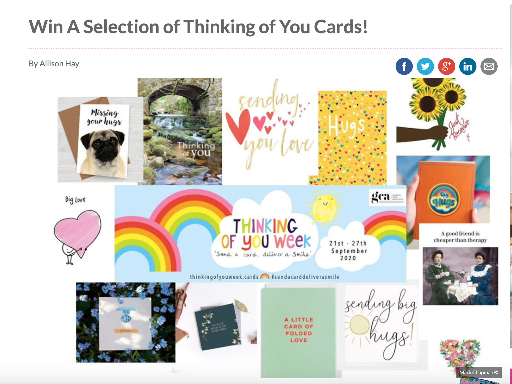 Above: Consumer magazine, My Weekly is launching a TOYW competition today on its site, giving away bundles of greeting cards.