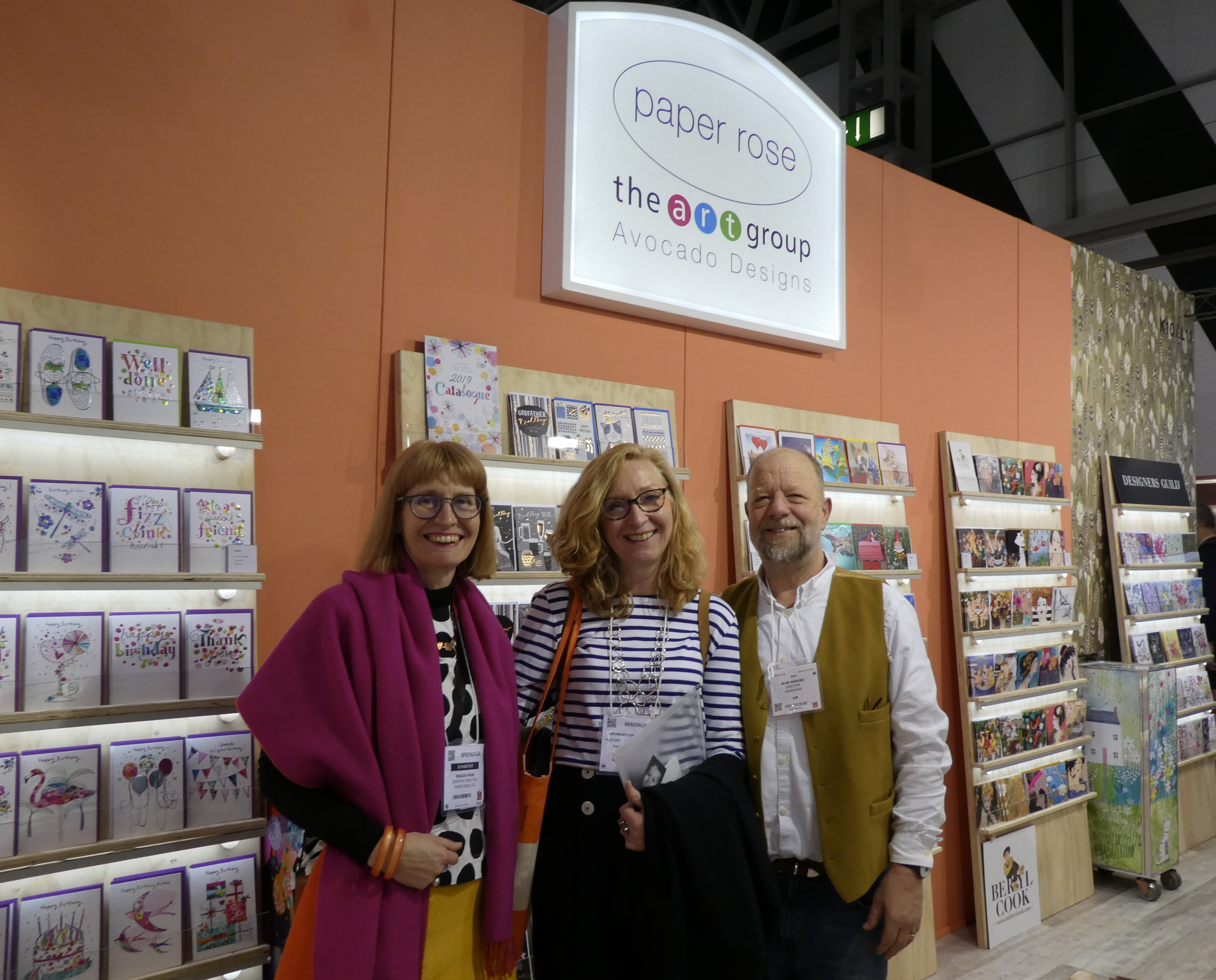 Above: Reggie (left) caught up with Alan Hawkes (the previous owner of Paper Rose) and industry chum, Bev Cunningham (formerly creative director of Abacus Cards, now head of Ginger Bee Studios, her own freelance creative and photography business) at last year's Spring Fair.