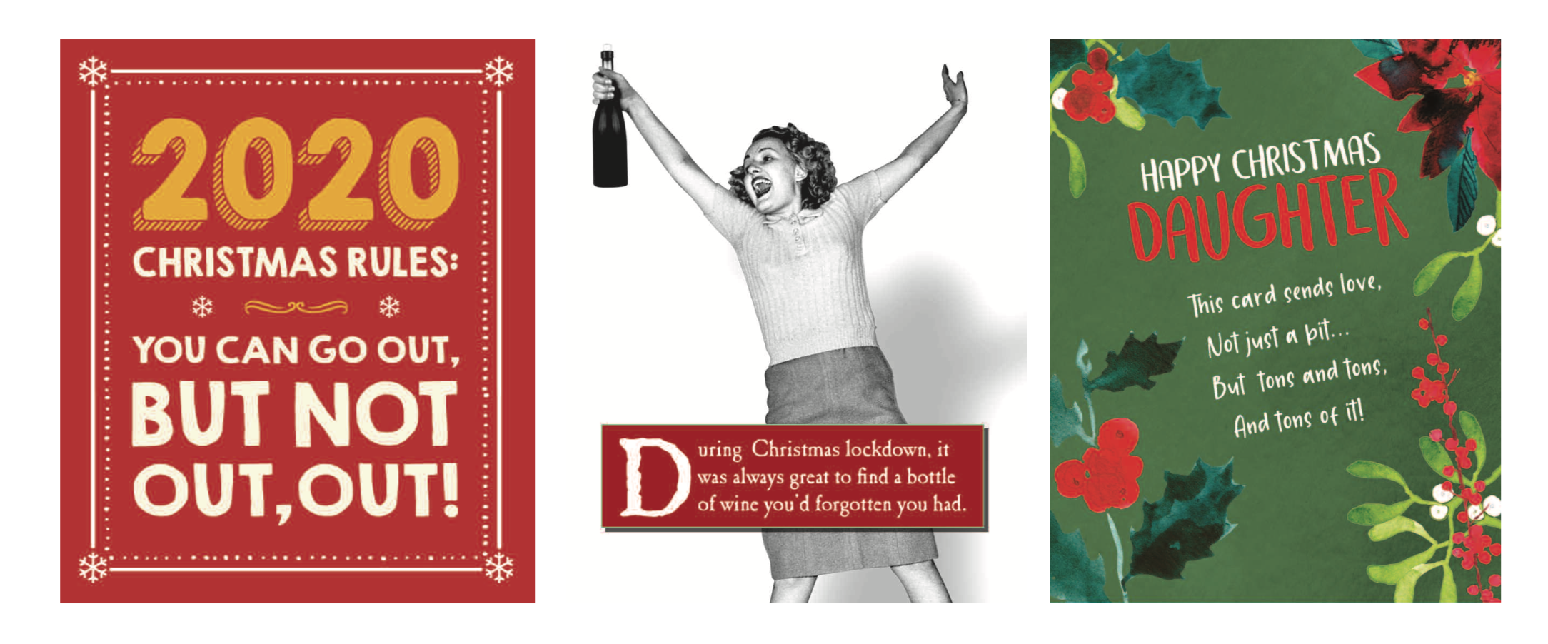 Above: A trio of topical Christmas cards from Emotional Rescue.