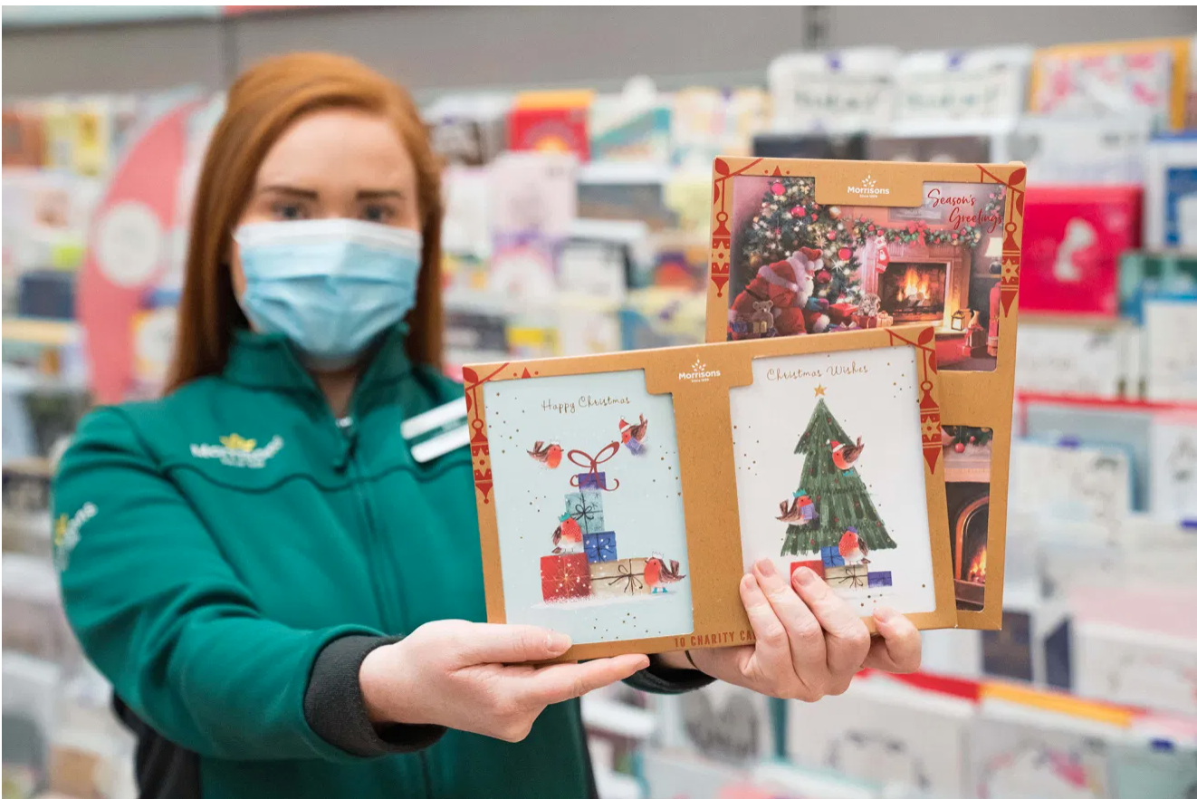 Above: Morrisons is proud of Christmas card offer.