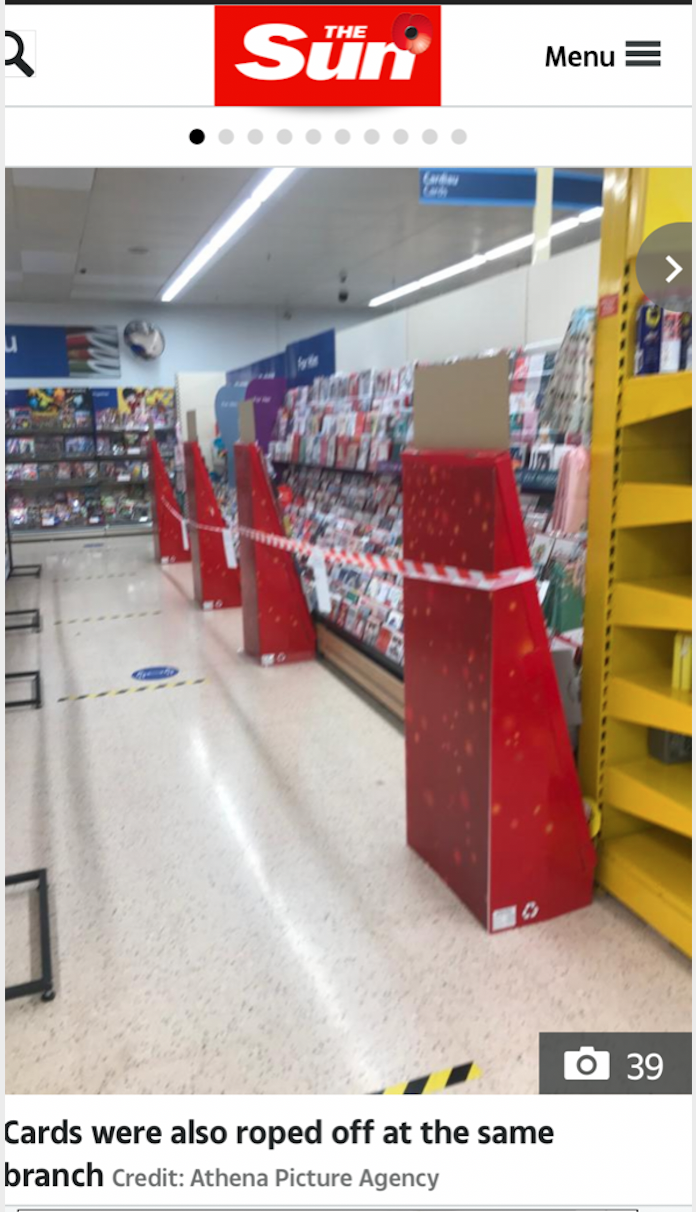 Above: The media was quick to pick up on the public outcry against supermarkets not being able to sell all products, including greeting cards. Thankfully there has been a u-turn on this.