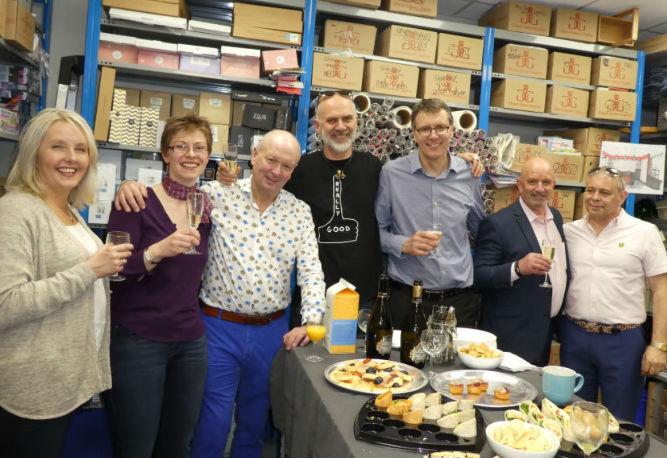 Above: David at the opening of House of Cards' revamped flagship store celebration with retailer owners Miles Robinson (far right) and Nigel Williamson (third right) and Derek Hanley, Warren Lomax, Lisa Shoesmith and Julie Brightly.