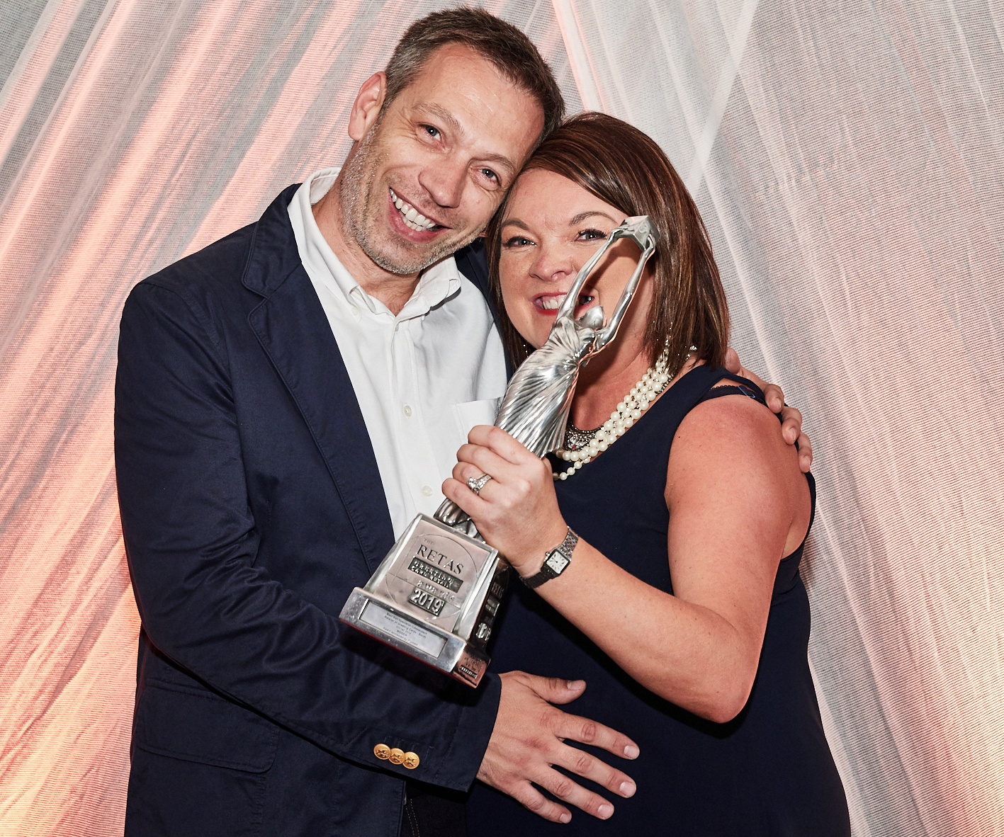 Above: Rachel and Paul Roberts with their Retas' trophy at last July's awards event.