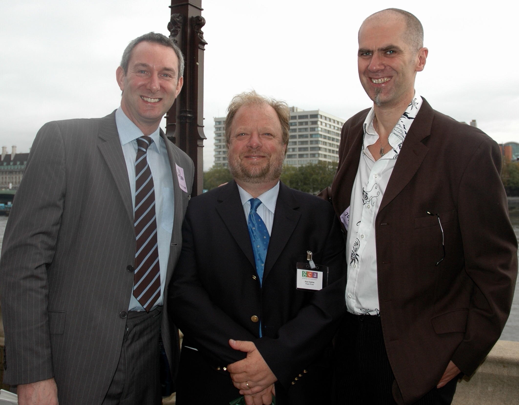 Above: At the House of Commons (at a GCA AGM) with industry chums Ged Mace (left) and Alan Hawkes (former owner of Paper Rose).
