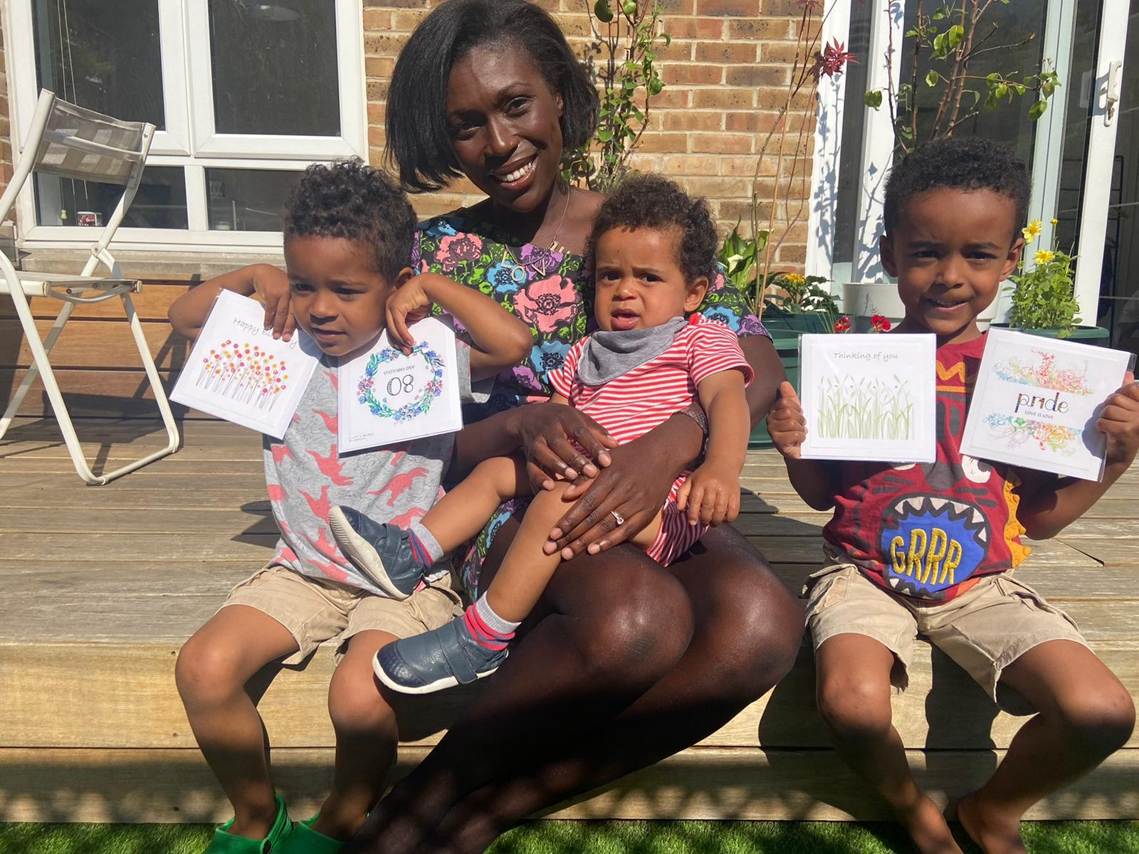 Above: Adriana with her three sons (left to right) Sebastien (3 years), Xavier (11 months), Lucien (5 years) and some Mrs Lovesy cards.