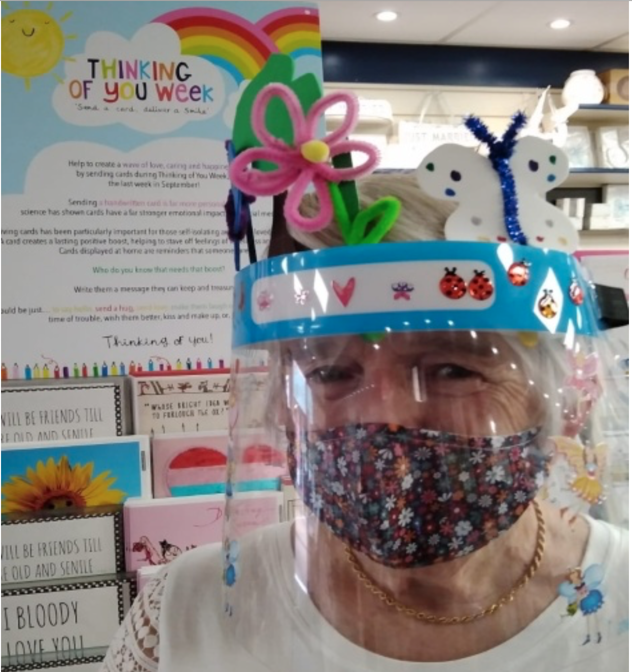 Above: House of Cards promoted Thinking of You Week instore as well as celebrating the event with its Pimp My Visor competition for its staff, with Pat Hadfield of Thatcham among those who entered.