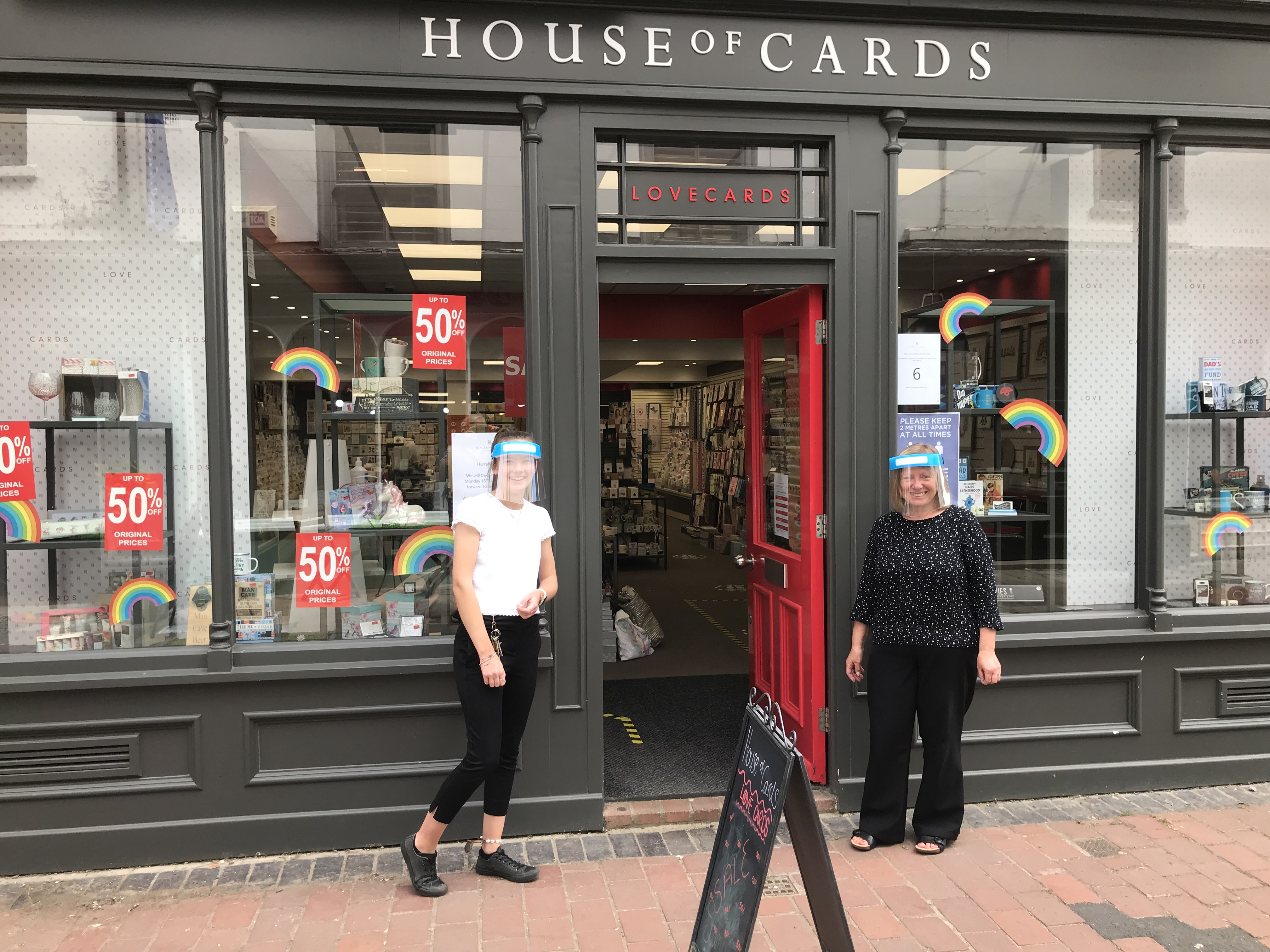 Above: House of Cards retail team have been wearing visors since the shops re-opened on June 15.