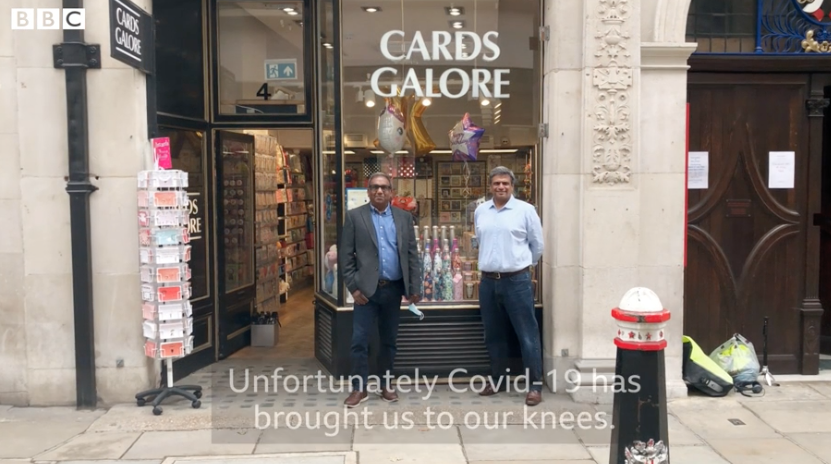 Above: Cards Galore's directors Rumit and Rajesh Shah appeared on BBC in July sharing the plight of city centre retailers.