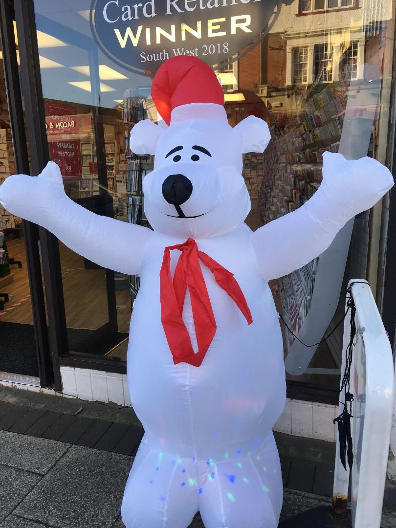 Above: An large inflated polar bear is now welcoming customers to Southbourne Cards!