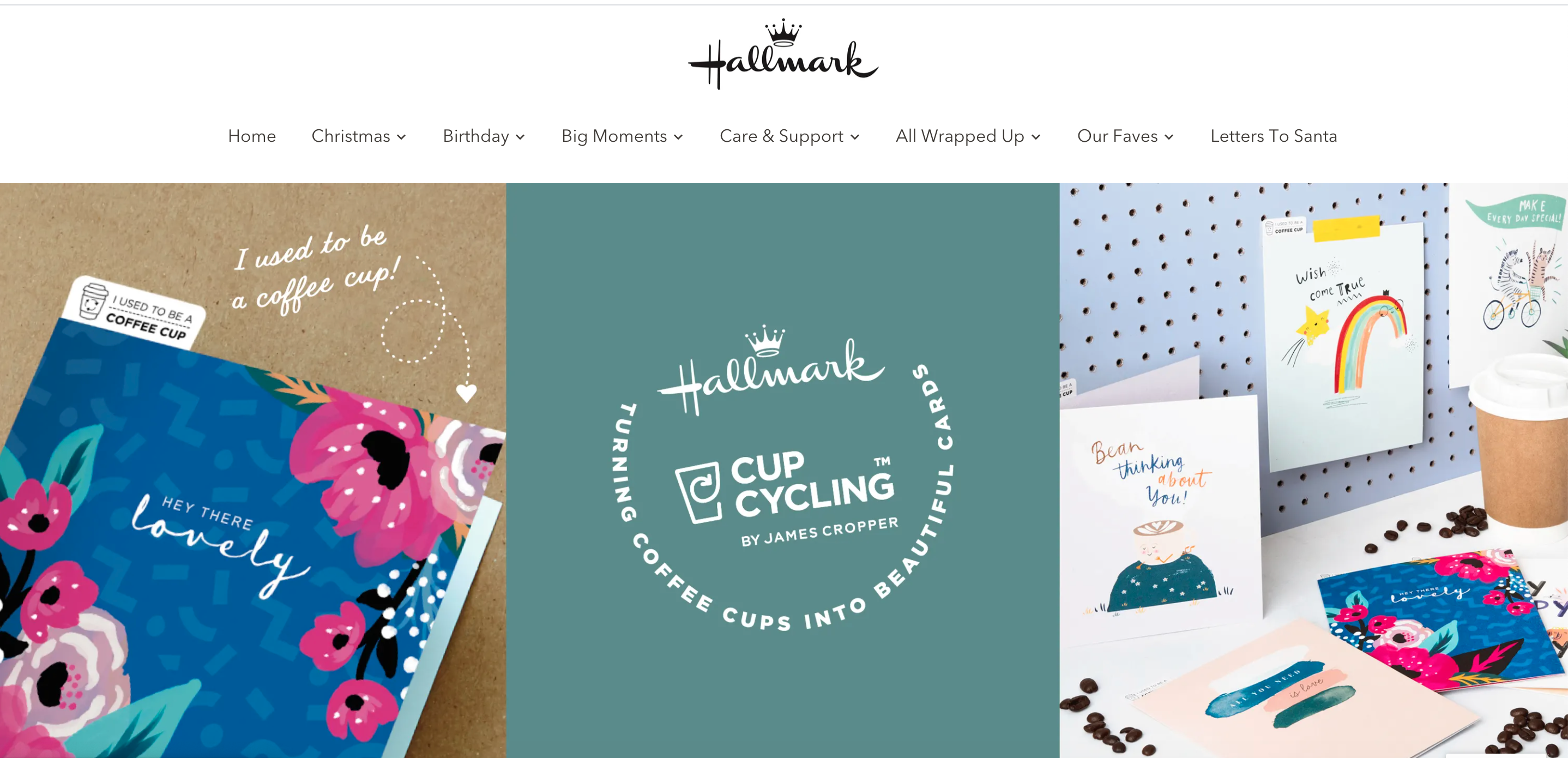 Above: The new website promotes specific ranges, such as the Cup Cycling range as well as allowing consumers to select by sending caption.