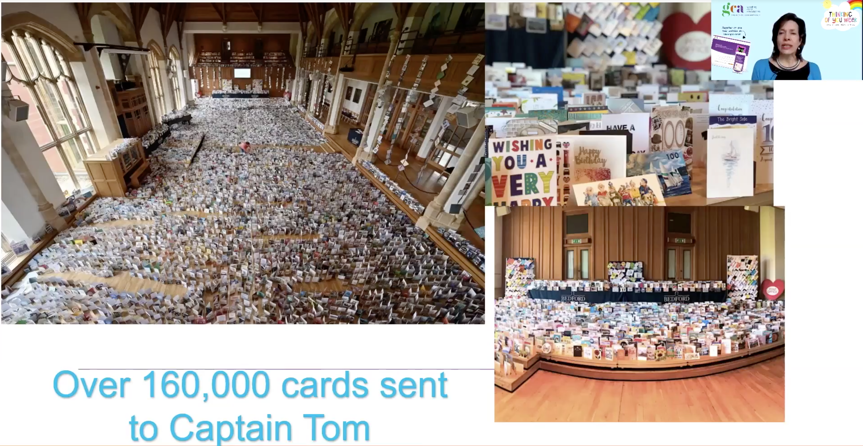 Above: The nation's love of cards was reflected in the 160,000 Captain Tom received for his 100th birthday.
