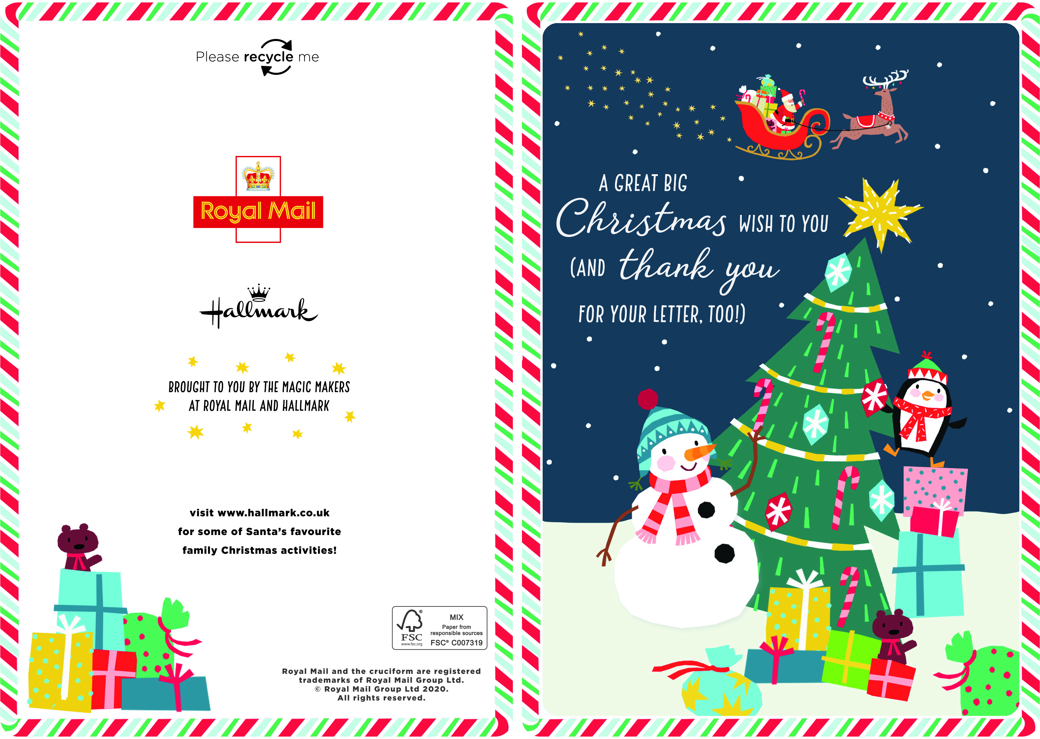 Above: The special Hallmark card that will be sent to up to 300,000 children this year from Santa.