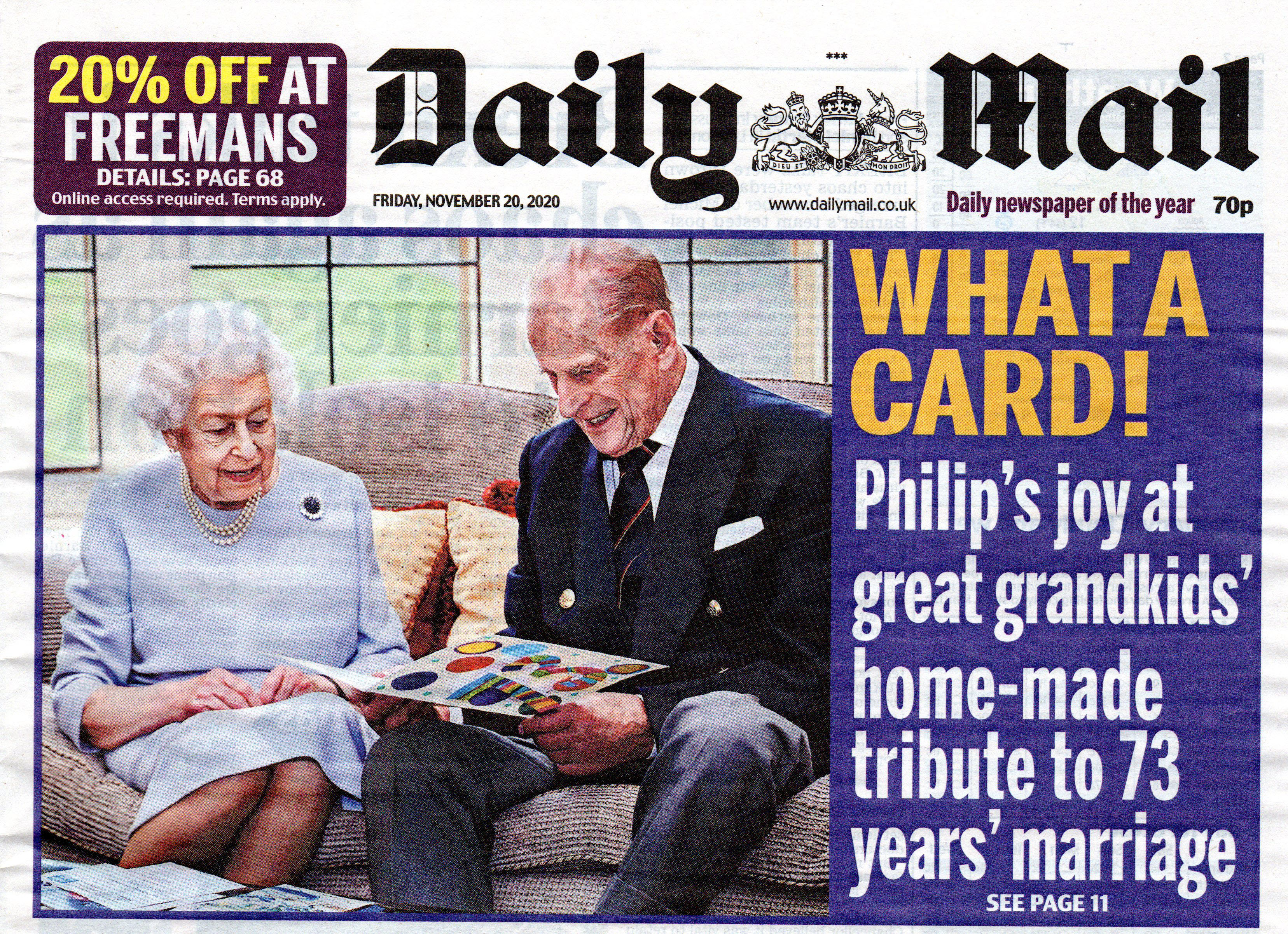 Above: The Daily Mail, not only featured the photo on its front cover, but also included a piece about the card inside the newspaper.