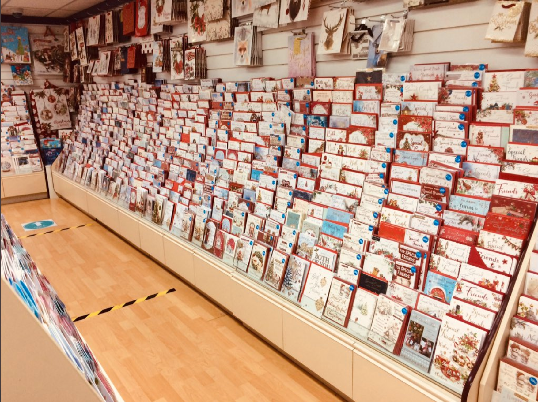 Above: The Christmas card display in Barton Shopping Centre, one of Cardgains' many independent retail members.