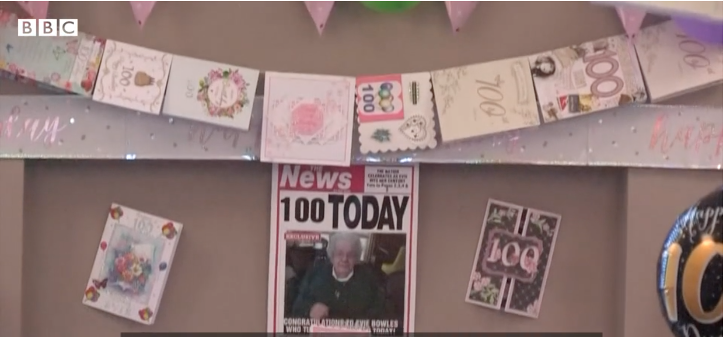 Above: Among the 1,000 birthday cards that Evie received from wellwishers all over the world.