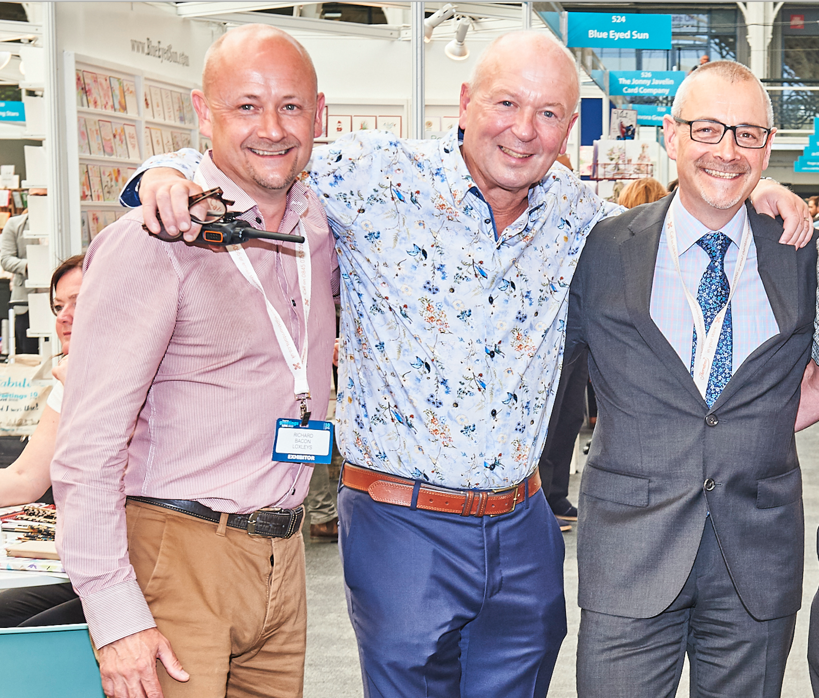 Above: The Sherwood Group's managing director Richard Bacon (left) and ceo Jeremy Bacon (right) with PG's Warren Lomax at last June's PG Live exhibition.