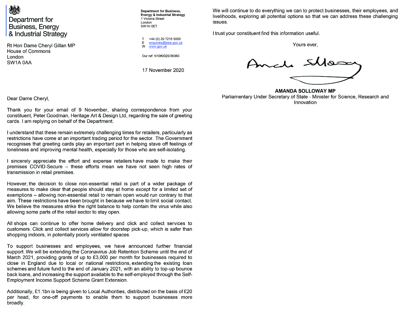 Above: The response Pete Goodman's MP received in response to his letter.