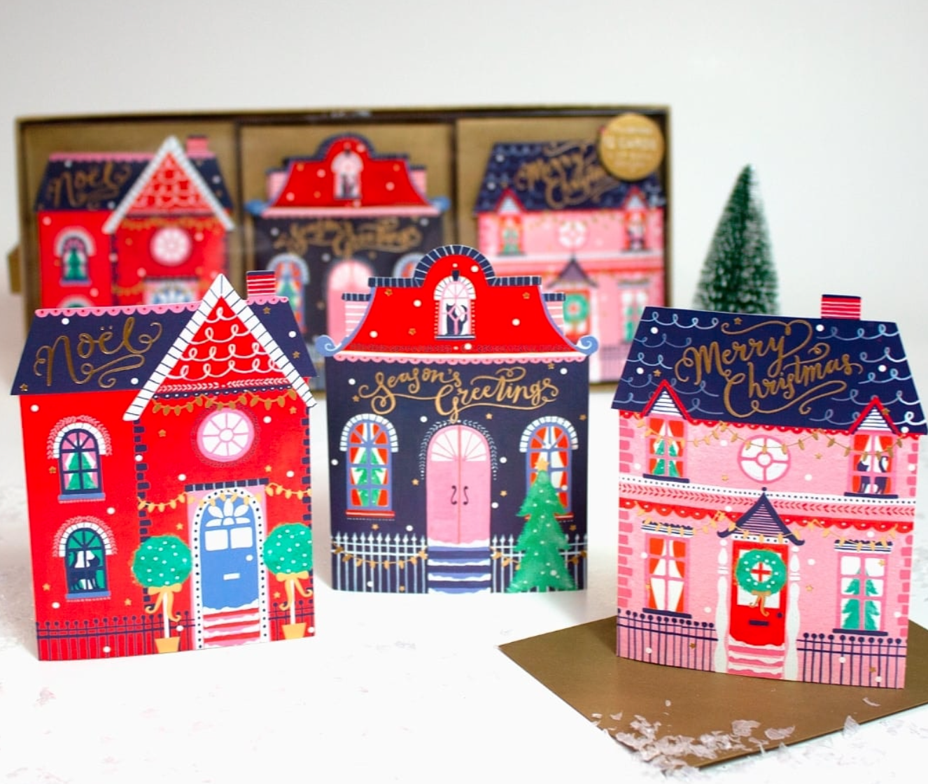 Above: The Indigo Tree actively promoted its Christmas card selection (including these from The Art File) sold in its stores as well as on its website.