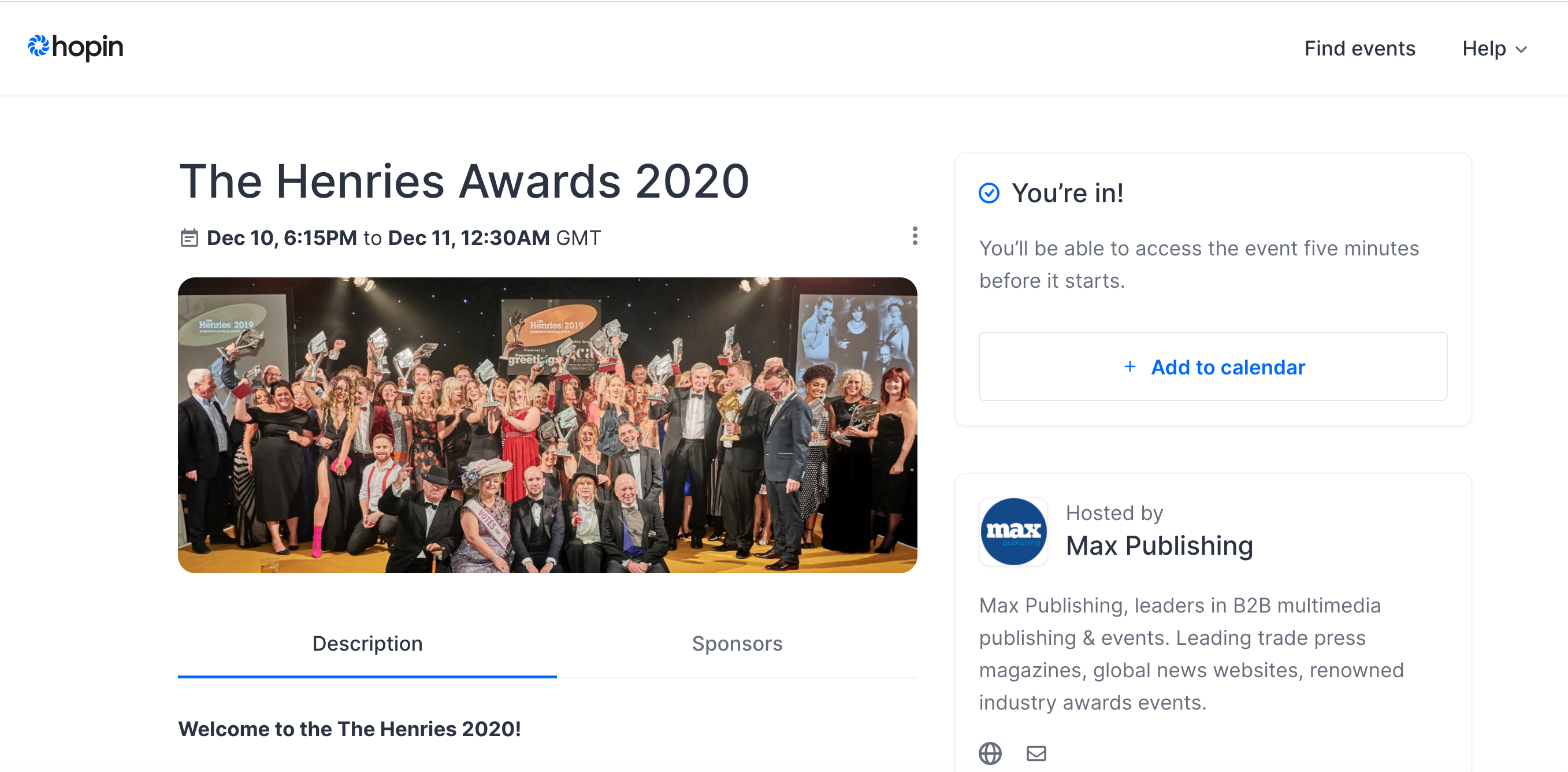Above: The Henries 2020 awards event is to be staged on the Hopin digital platform.