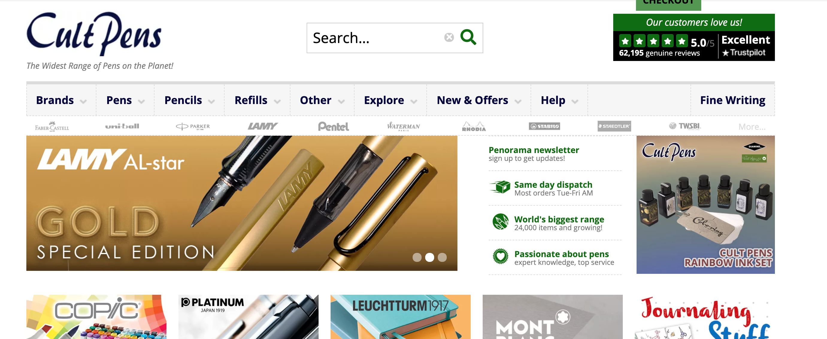 Above: Cult Pens offers over 24,000 different products.